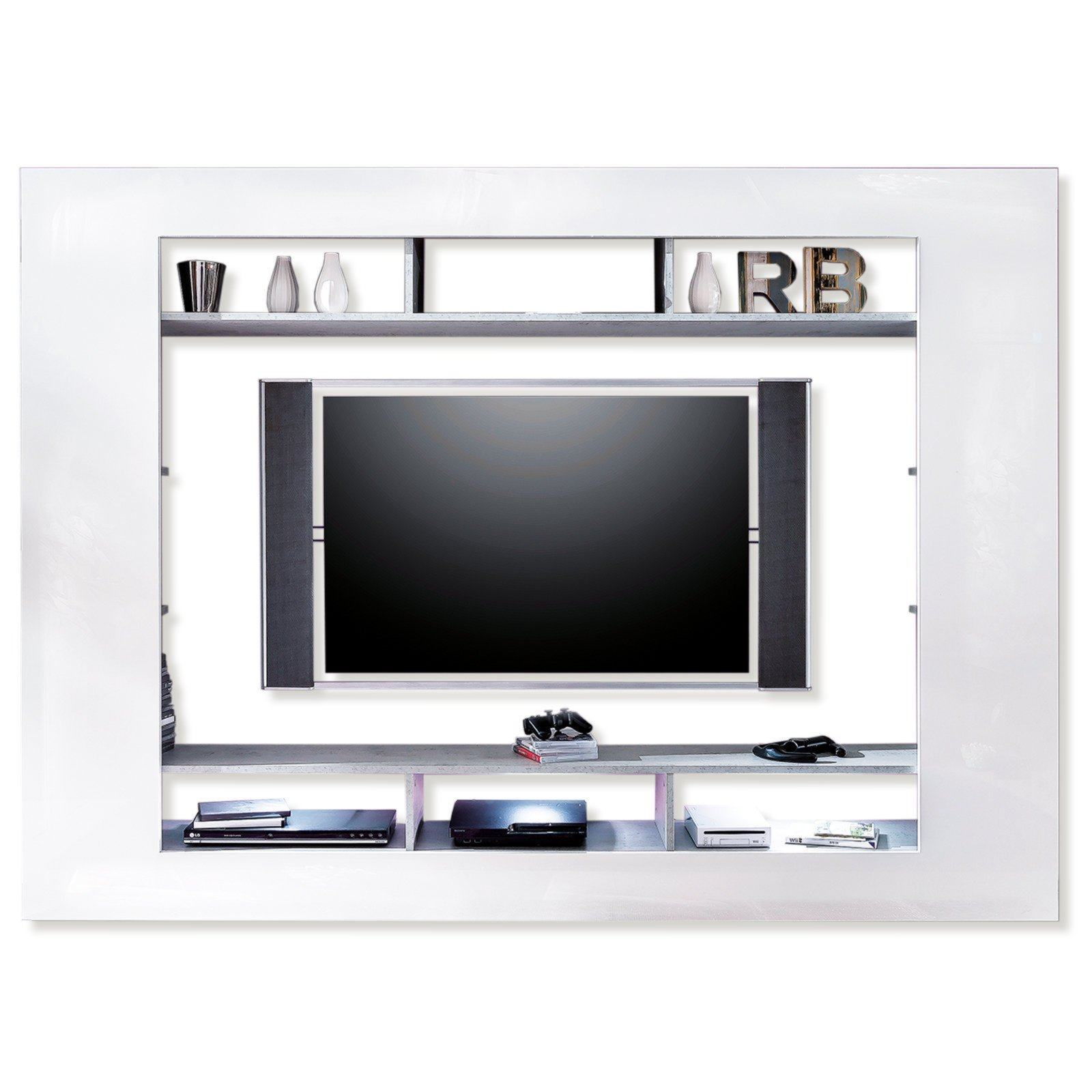 roller tv wand speed wei hochglanz 216x160 cm ebay. Black Bedroom Furniture Sets. Home Design Ideas