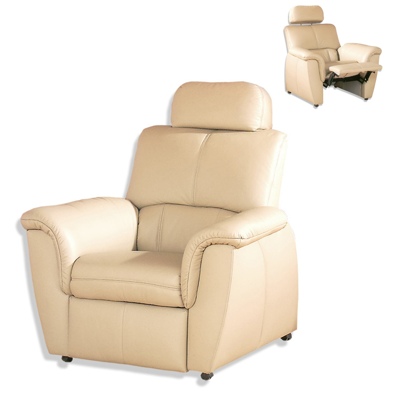 ledersessel natur mit funktion und kopfst tze fernseh relaxsessel sessel hocker. Black Bedroom Furniture Sets. Home Design Ideas