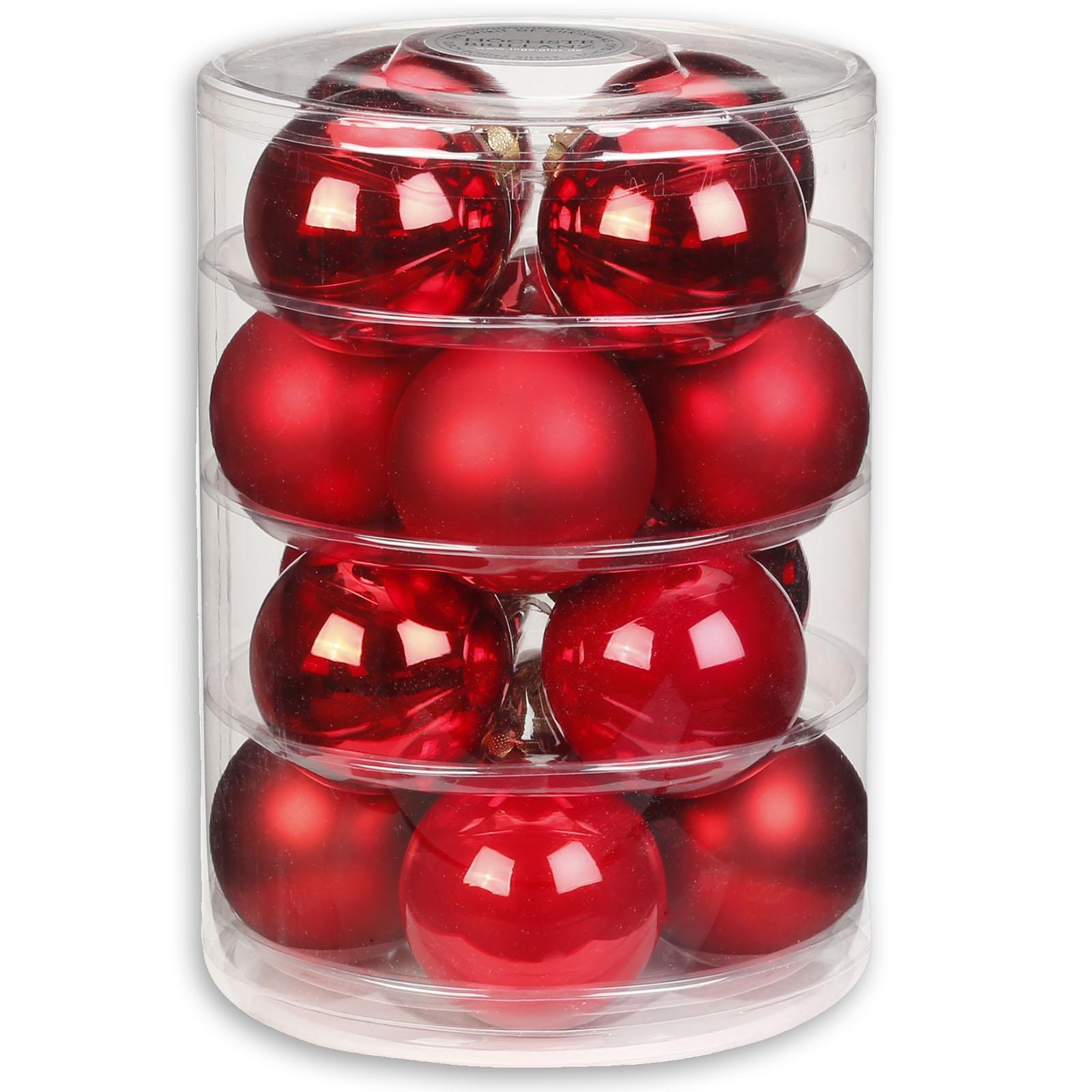Christbaumkugeln Glas Bunt.Christbaumkugeln Hell Dunkel Rot Glas 16 Stuck 7 5 Cm