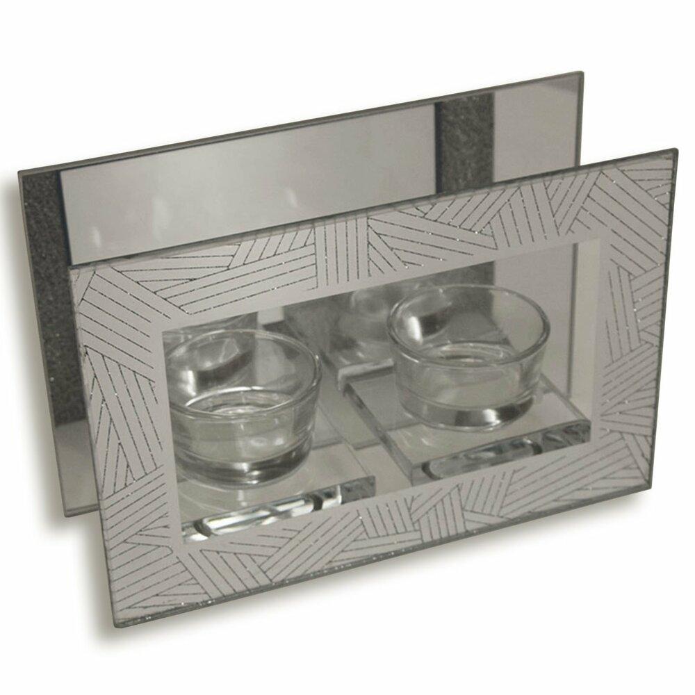 kerzenhalter silber f r 2 teelichter kerzen kerzenhalter deko deko haushalt. Black Bedroom Furniture Sets. Home Design Ideas