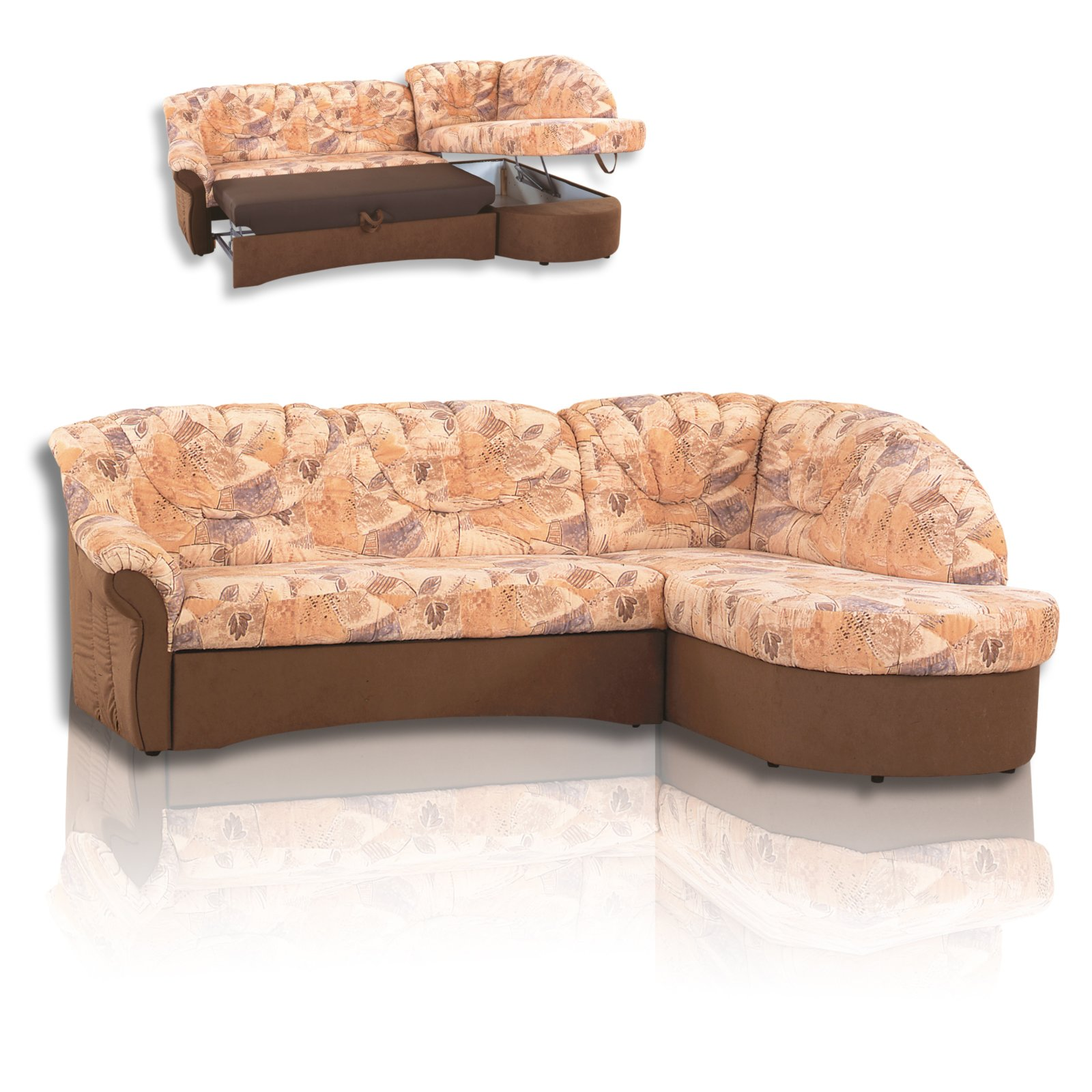 polsterecke braun gemustert mit funktion ecksofas l. Black Bedroom Furniture Sets. Home Design Ideas