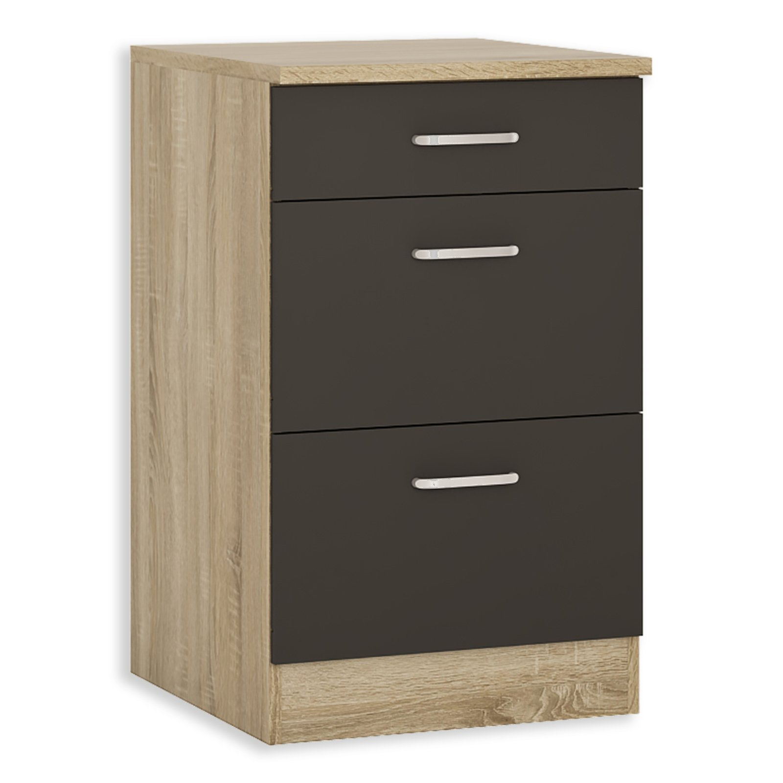 unterschrank fox anthrazit sonoma eiche 50 cm breit. Black Bedroom Furniture Sets. Home Design Ideas