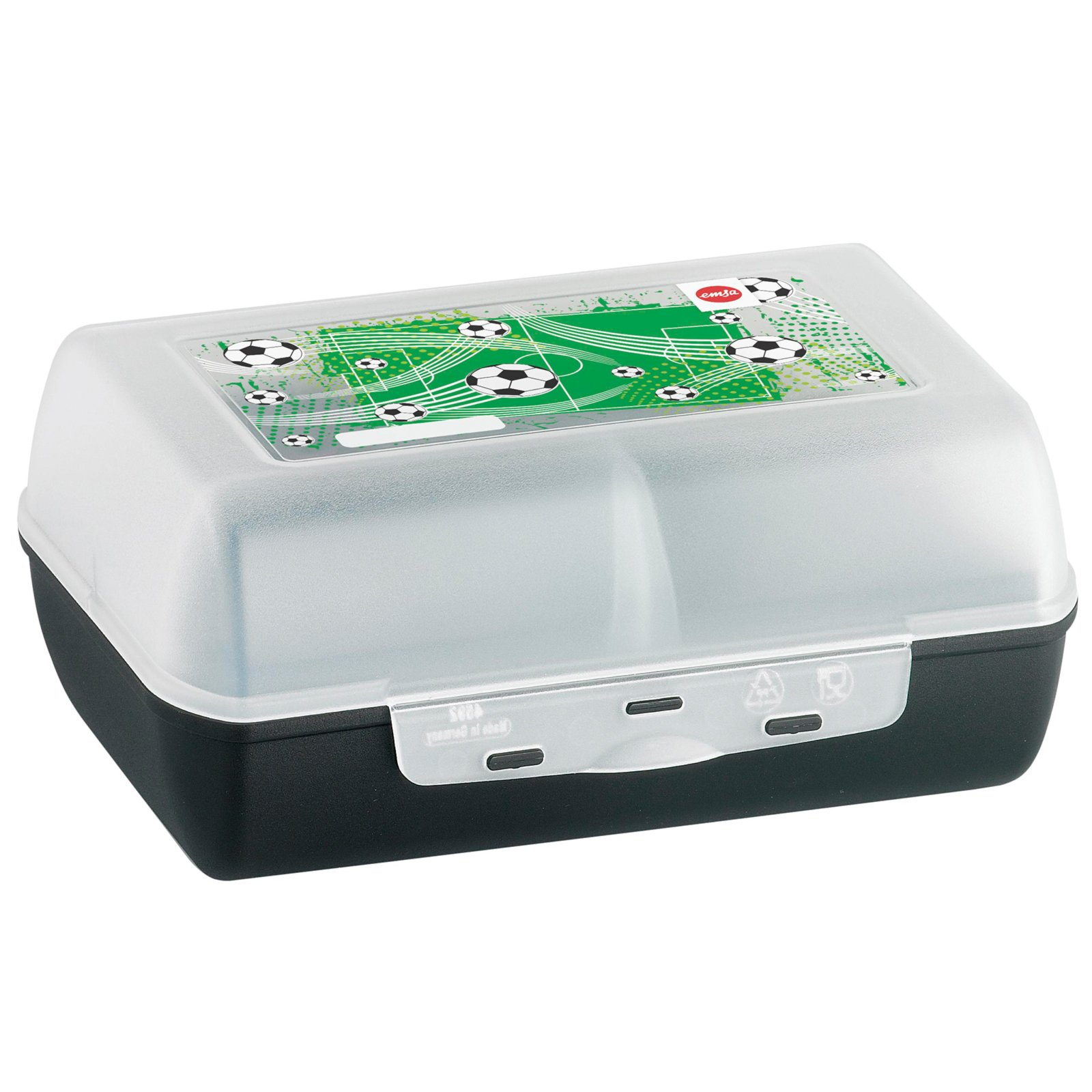 lunchbox soccer transparent schwarz mit trennwand brotdosen dosen und vorratsgl ser. Black Bedroom Furniture Sets. Home Design Ideas