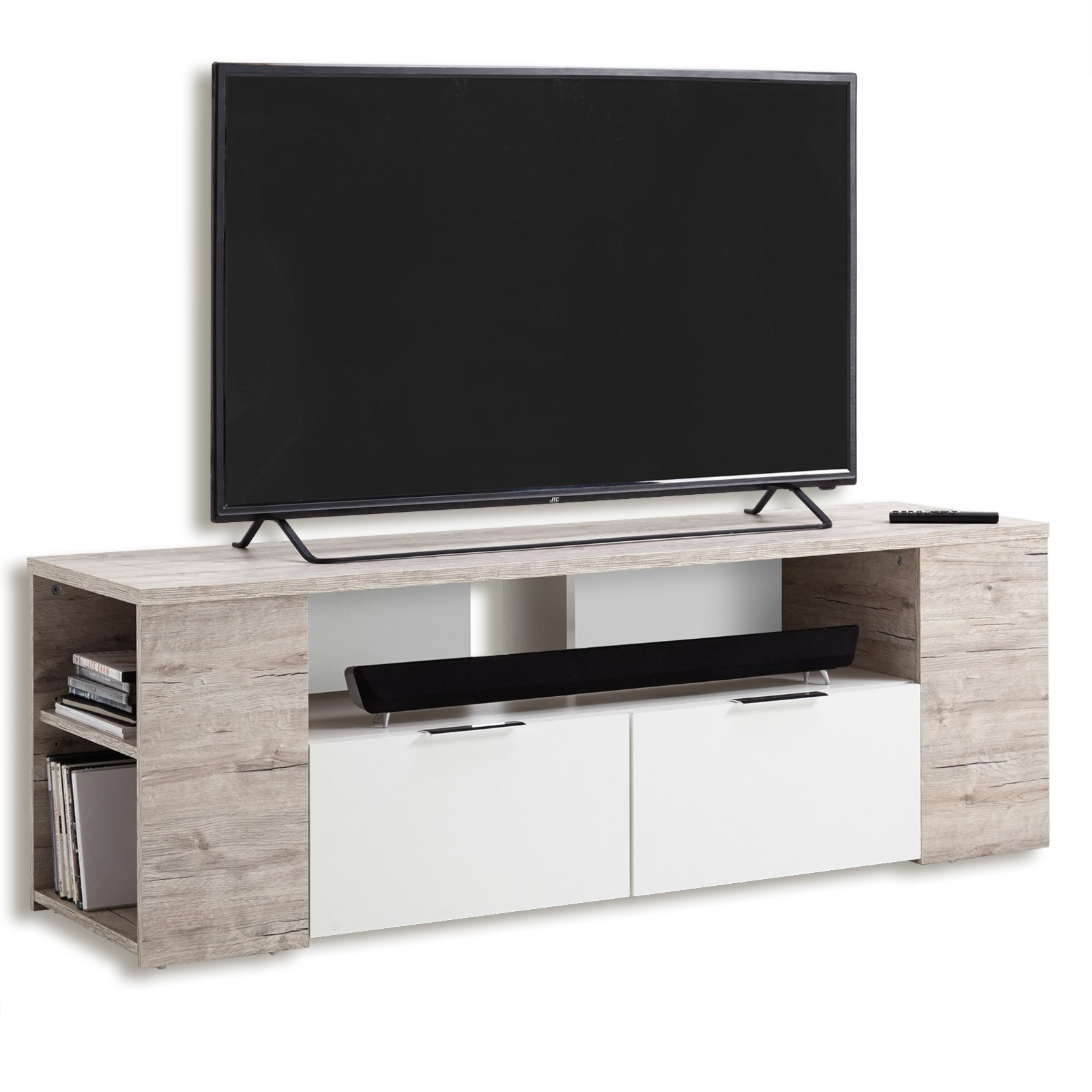 tv lowboard tabor sandeiche wei 150 cm tv lowboards tv b nke tv hifi m bel m bel. Black Bedroom Furniture Sets. Home Design Ideas