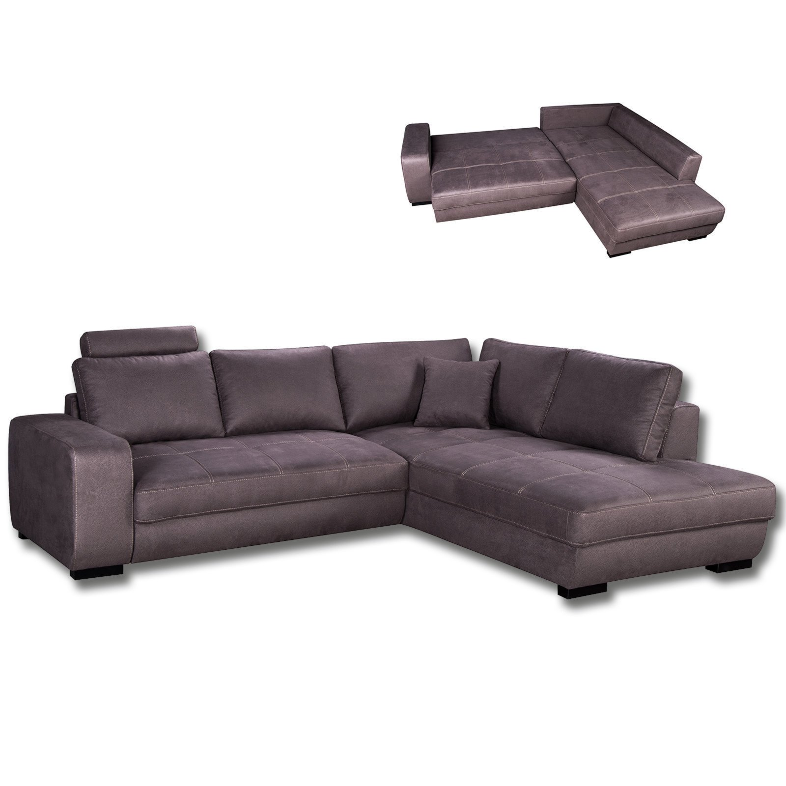 ecksofa braun mit liegefunktion ecksofas l form sofas couches m bel roller m belhaus. Black Bedroom Furniture Sets. Home Design Ideas