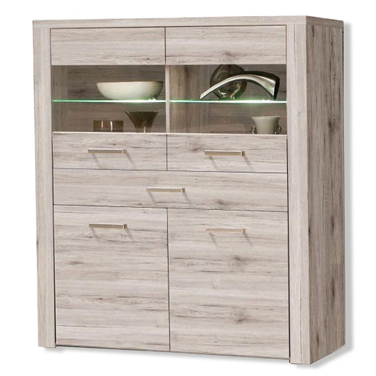 highboard portland vitrine sandeiche beleuchtung 130 cm kommoden sideboards m bel. Black Bedroom Furniture Sets. Home Design Ideas
