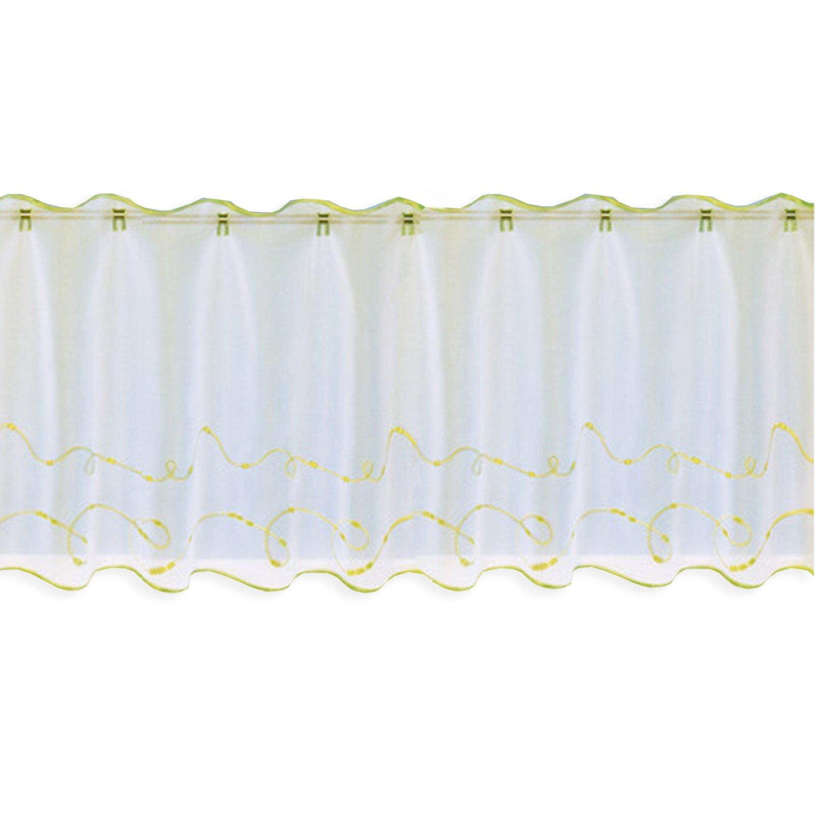 Scheibengardine - weiß-grün - 150x50 cm