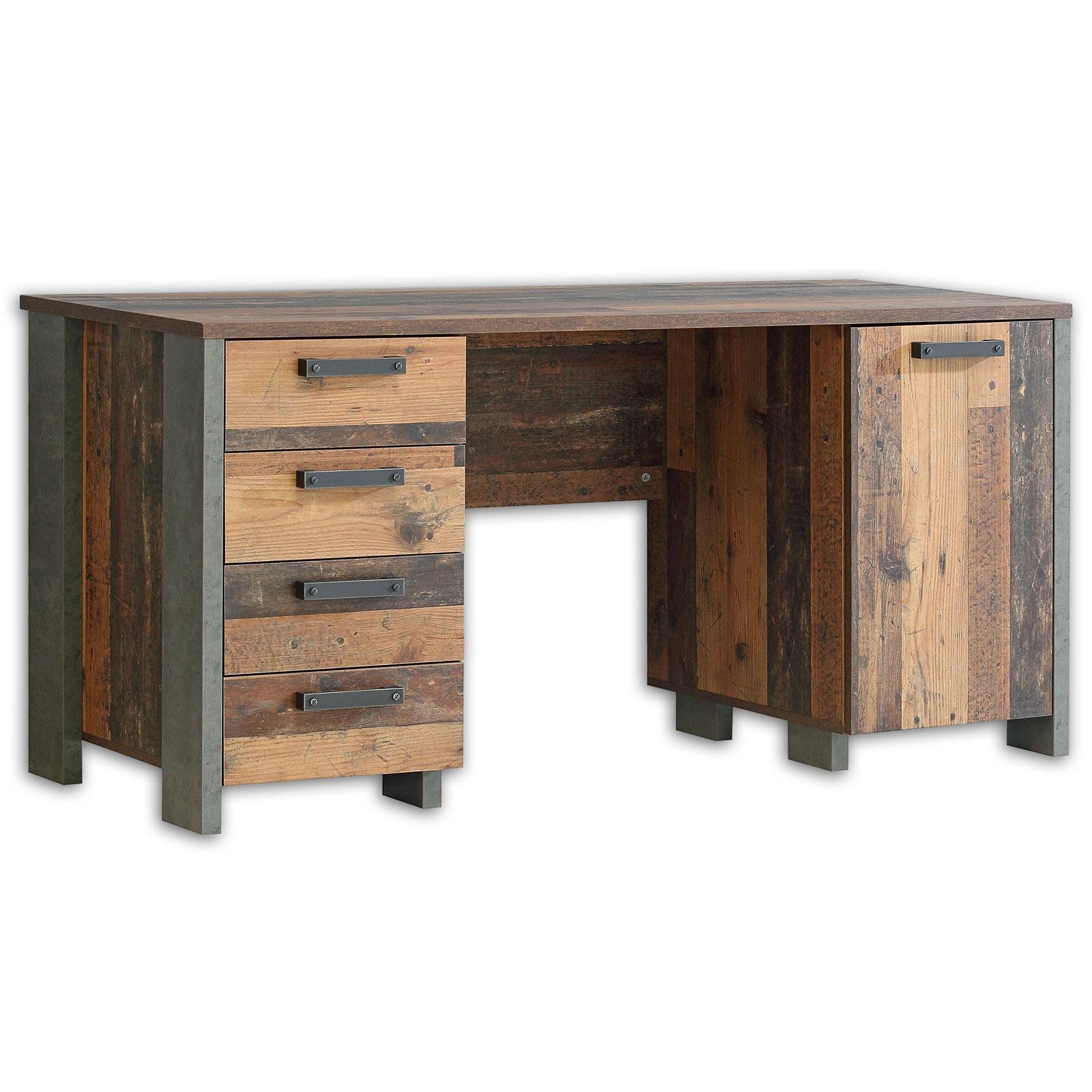 Schreibtisch Old Wood Vintage Betonoptik 155 Cm Online Bei Roller Kaufen