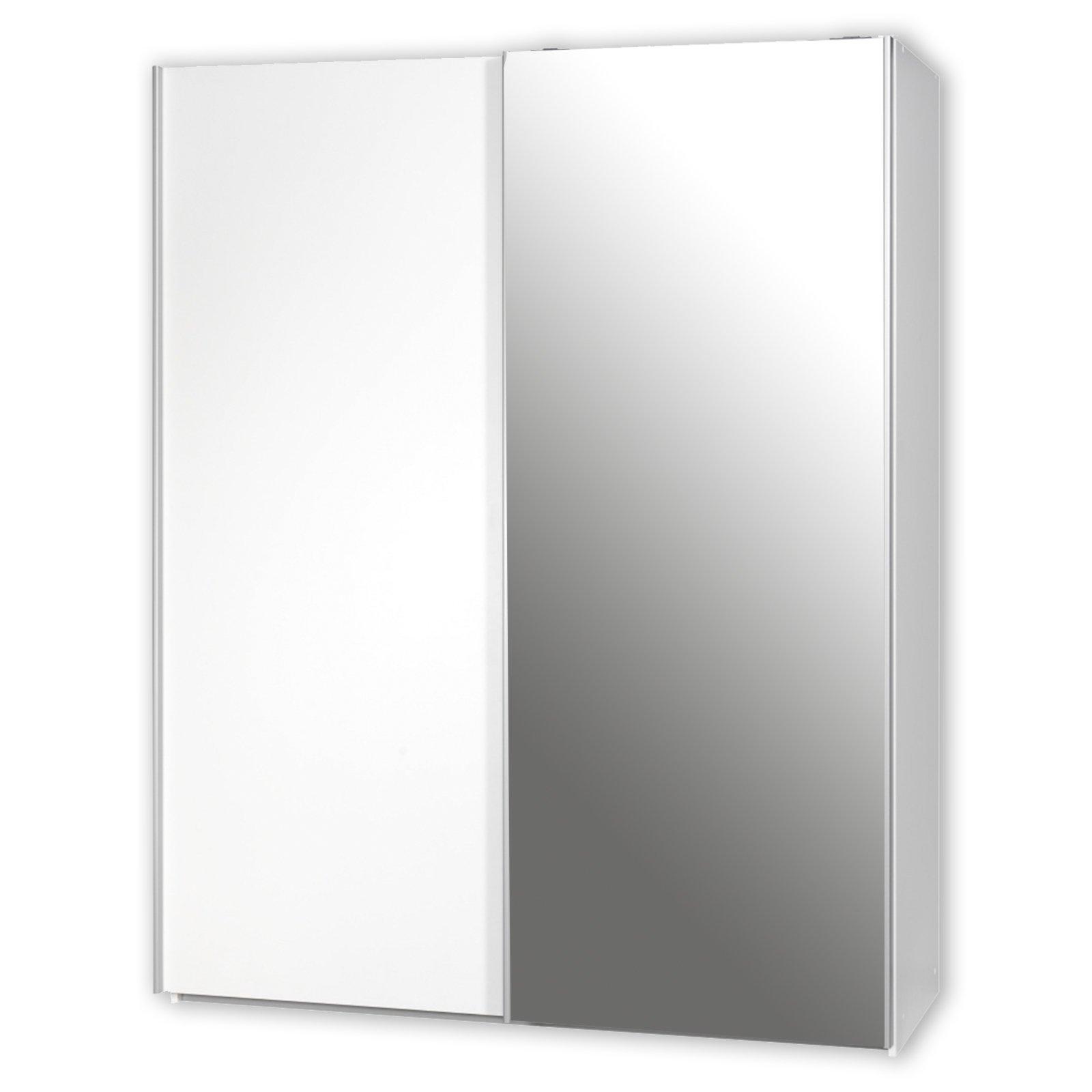 roller schwebetürenschrank soft smart - mit spiegel - weiß - 150 cm