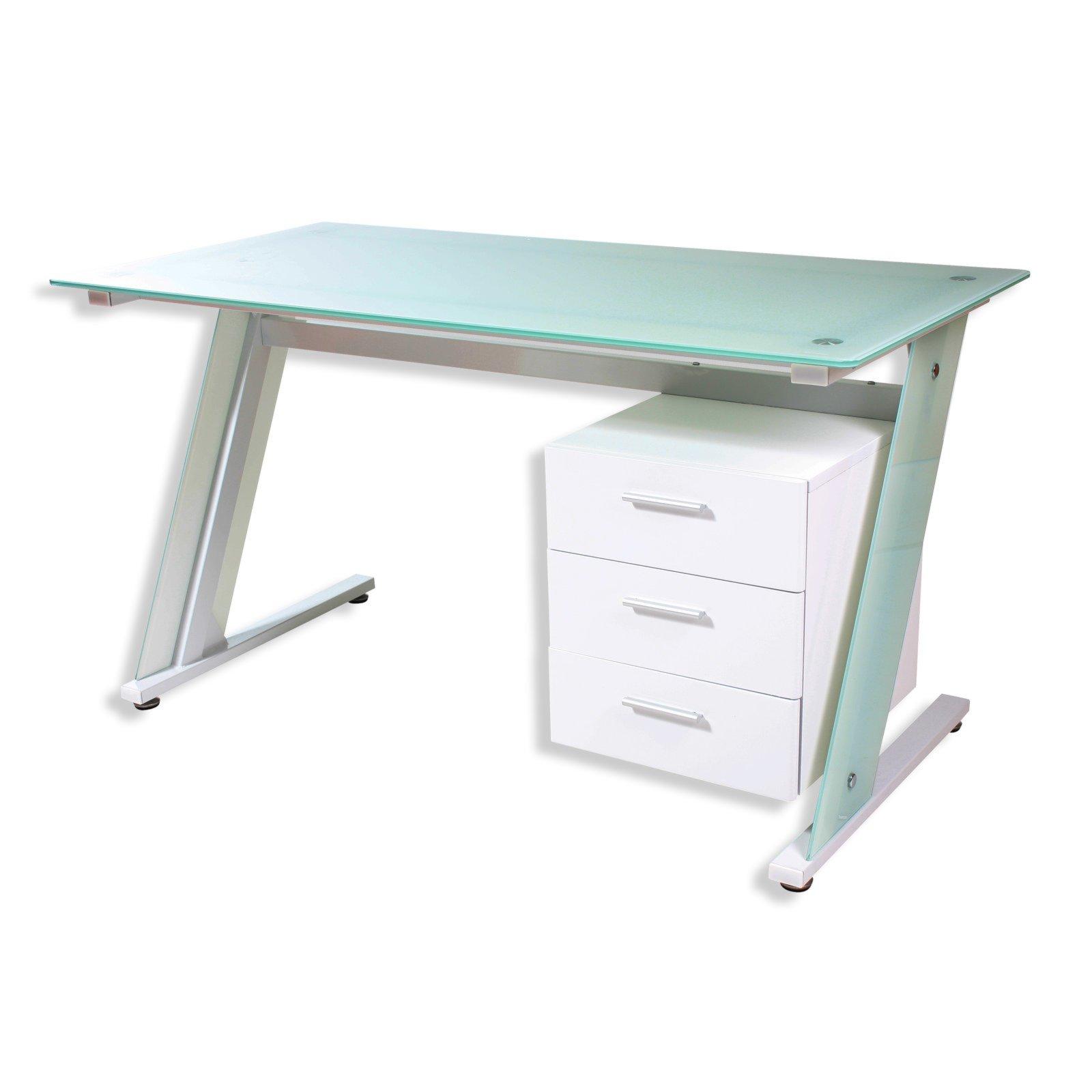 Einzigartig Schreibtisch Weiß Groß Das Beste Von Glasschreibtisch Dakota - Metall Weiß