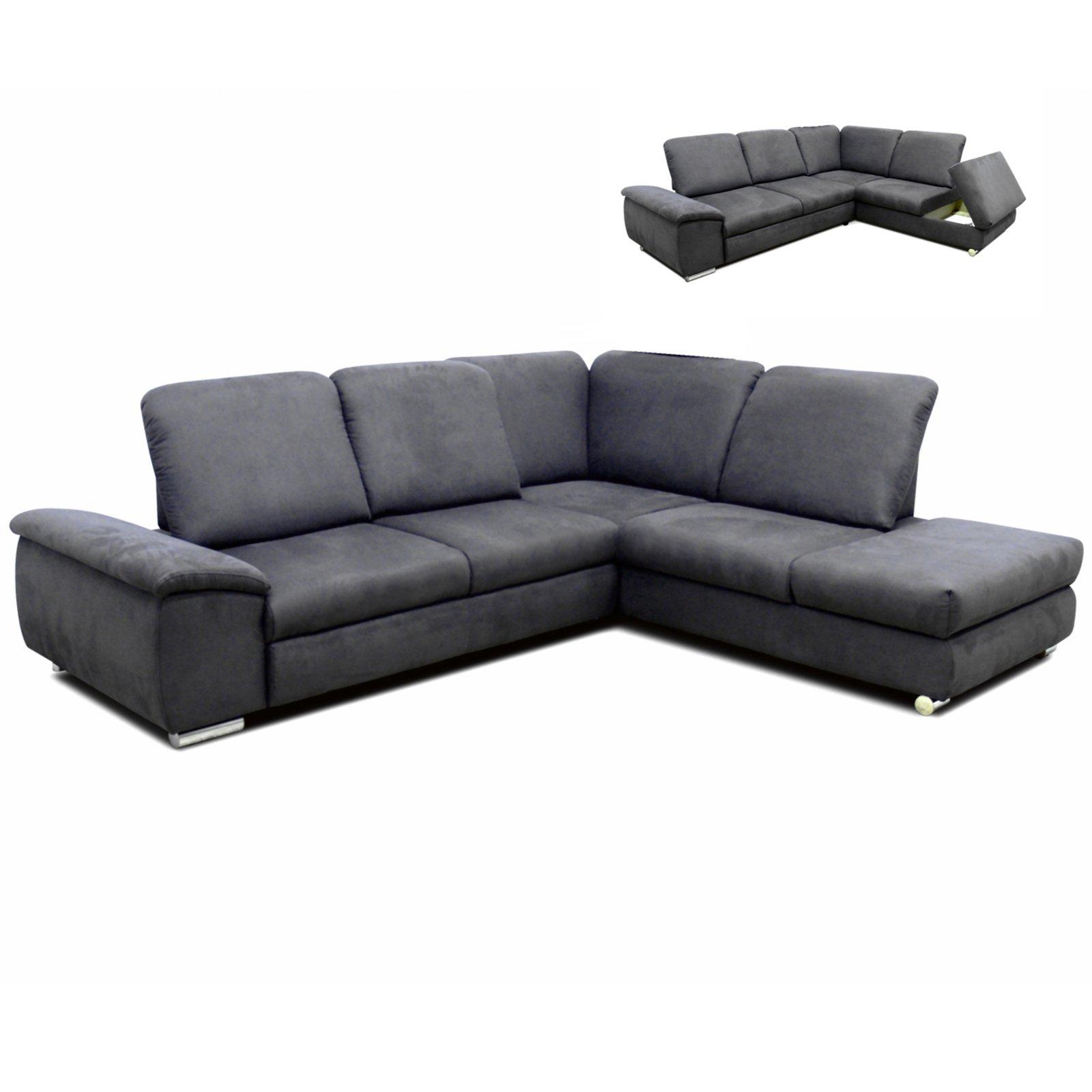 polsterecke grau staukasten sitztiefenverstellung links ecksofas l form sofas. Black Bedroom Furniture Sets. Home Design Ideas