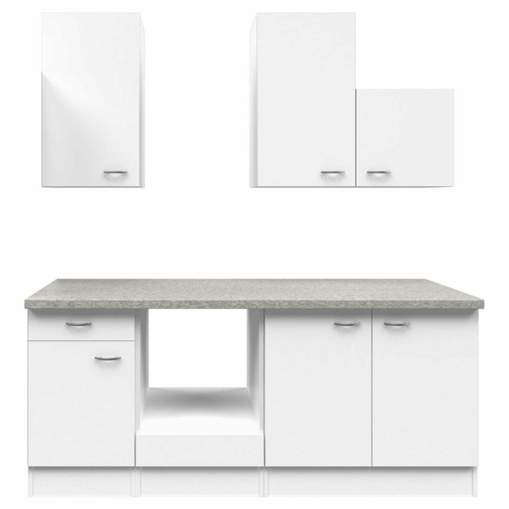 k chenblock wito wei grau 210 cm k chenzeilen ohne e ger te k chenzeilen m bel. Black Bedroom Furniture Sets. Home Design Ideas