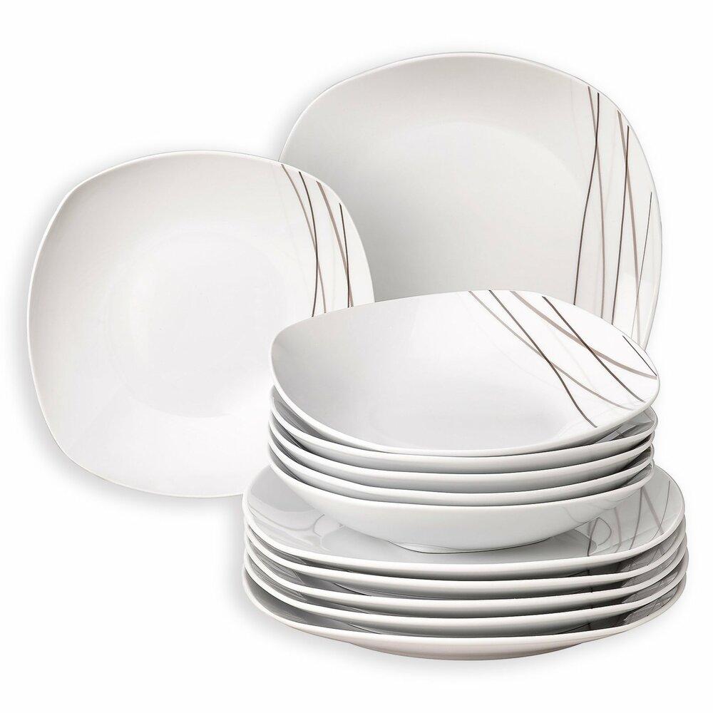 tafelservice liliane wei porzellan 6 personen geschirr haushalts k chenzubeh r. Black Bedroom Furniture Sets. Home Design Ideas