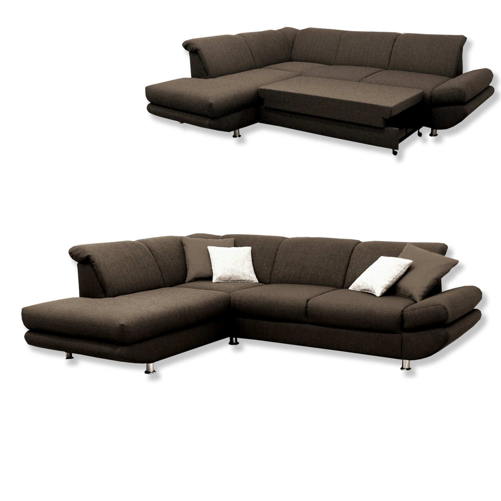 polsterecke braun liegefunktion ottomane links ecksofas l form sofas couches m bel. Black Bedroom Furniture Sets. Home Design Ideas
