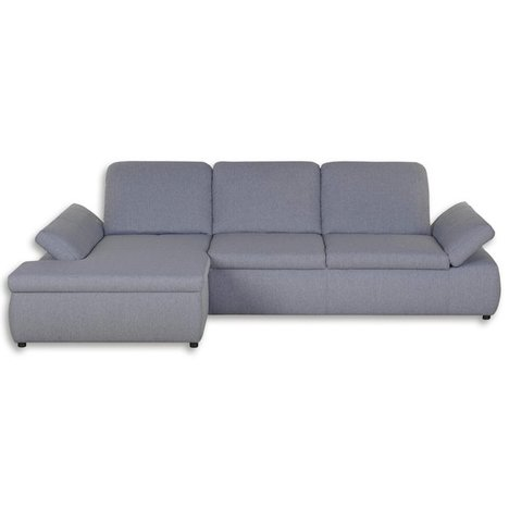 Boxspringsofa - grau - mit Funktion - Recamiere links