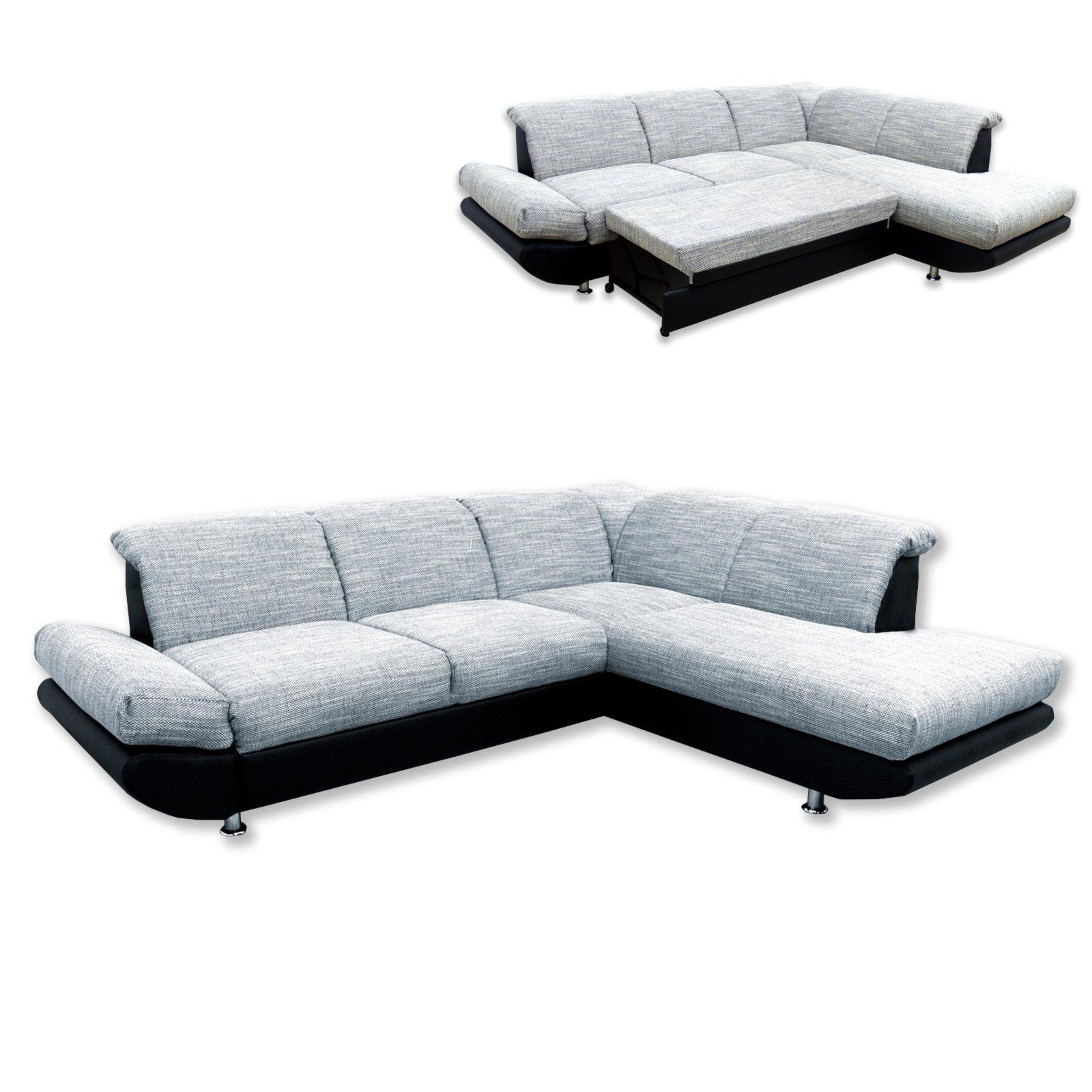 polsterecke grau schwarz mit liegefunktion ottomane. Black Bedroom Furniture Sets. Home Design Ideas