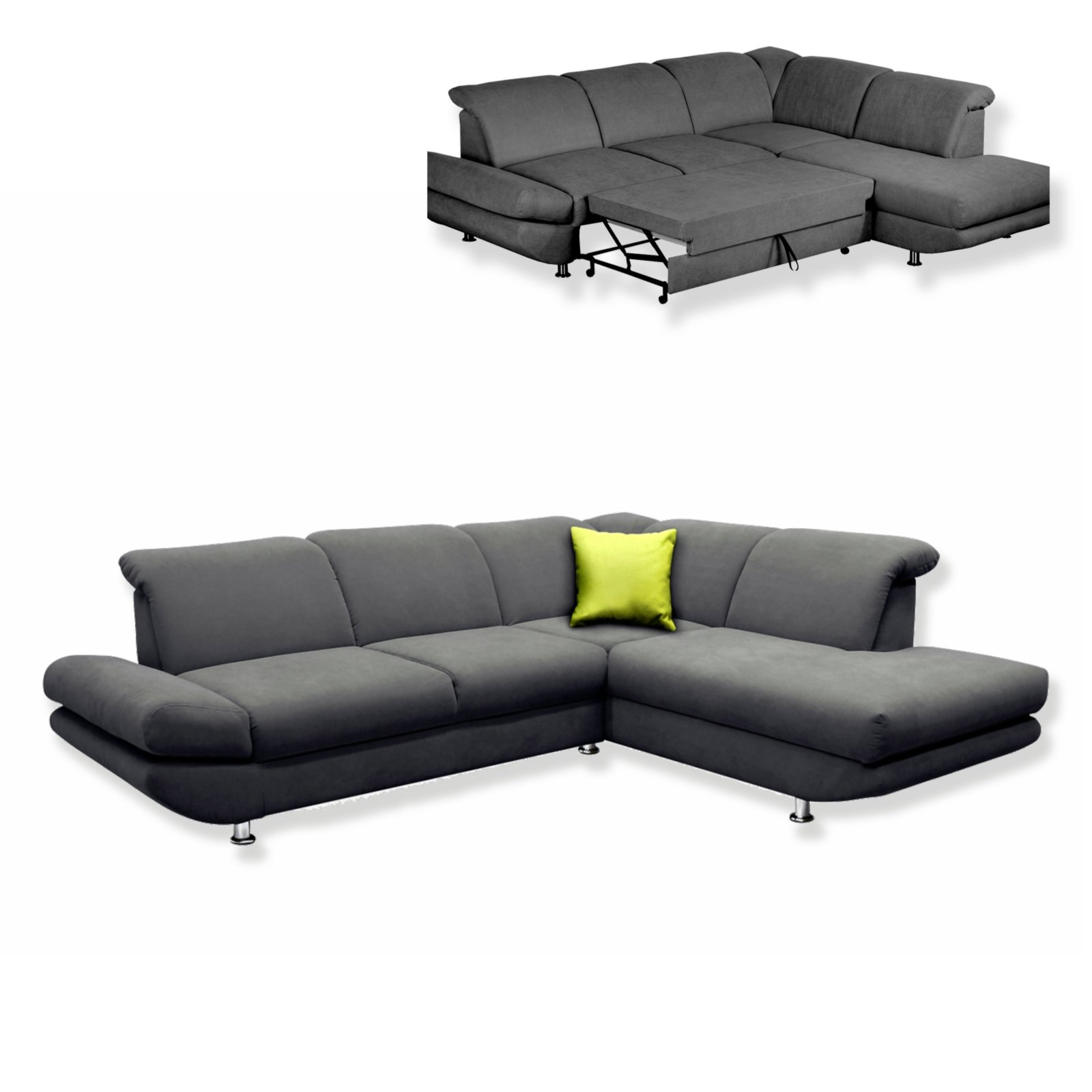 Polsterecke grau mit liegefunktion ottomane links for Sofa l form grau