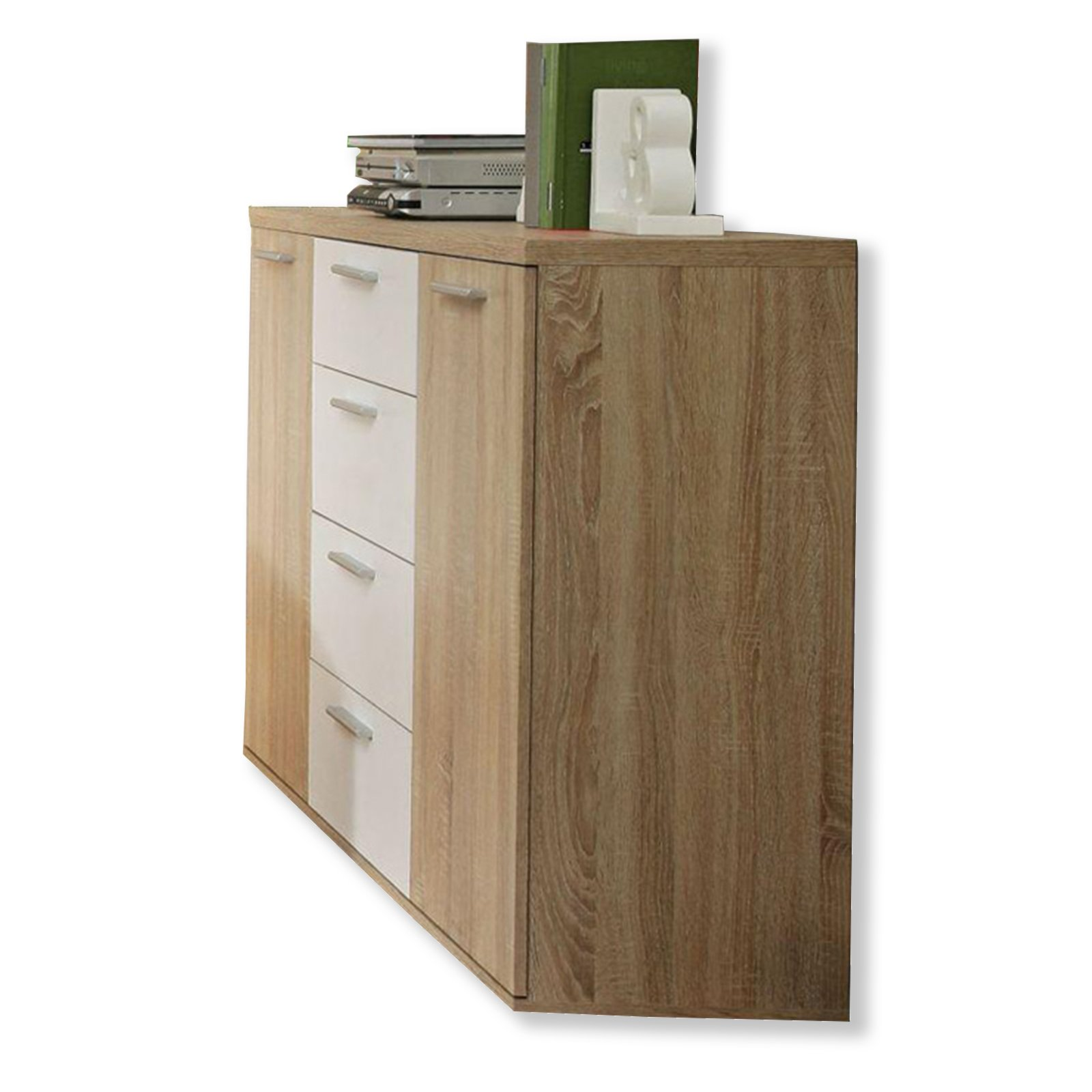 kommode winnie sonoma eiche wei 130 cm kommoden sideboards m bel roller m belhaus. Black Bedroom Furniture Sets. Home Design Ideas