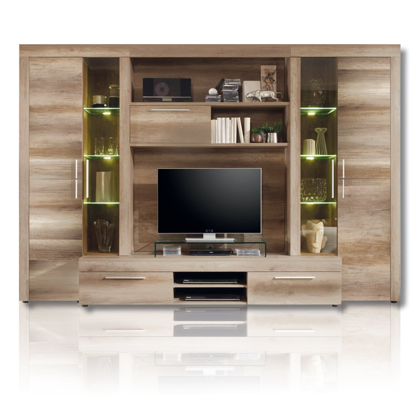wohnwand boom kompakt led beleuchtung eiche wohnw nde wohnw nde m bel roller m belhaus. Black Bedroom Furniture Sets. Home Design Ideas