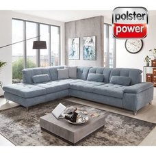 polsterpower Ecksofa - blau - mit Funktionen - Anstellhocker links