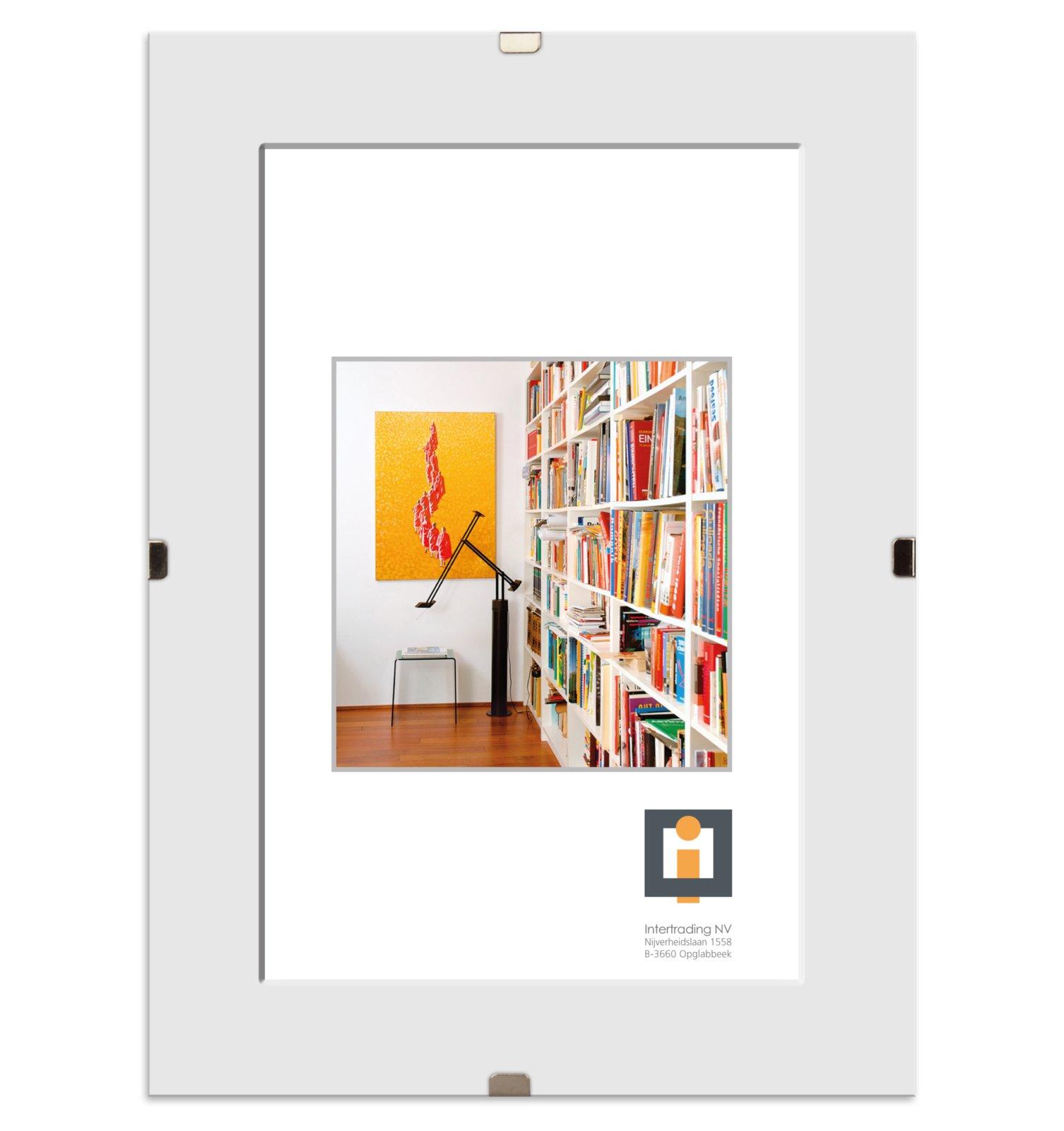 Bildhalter CLIP - weiß - Glas - rahmenlos - 30x40 cm