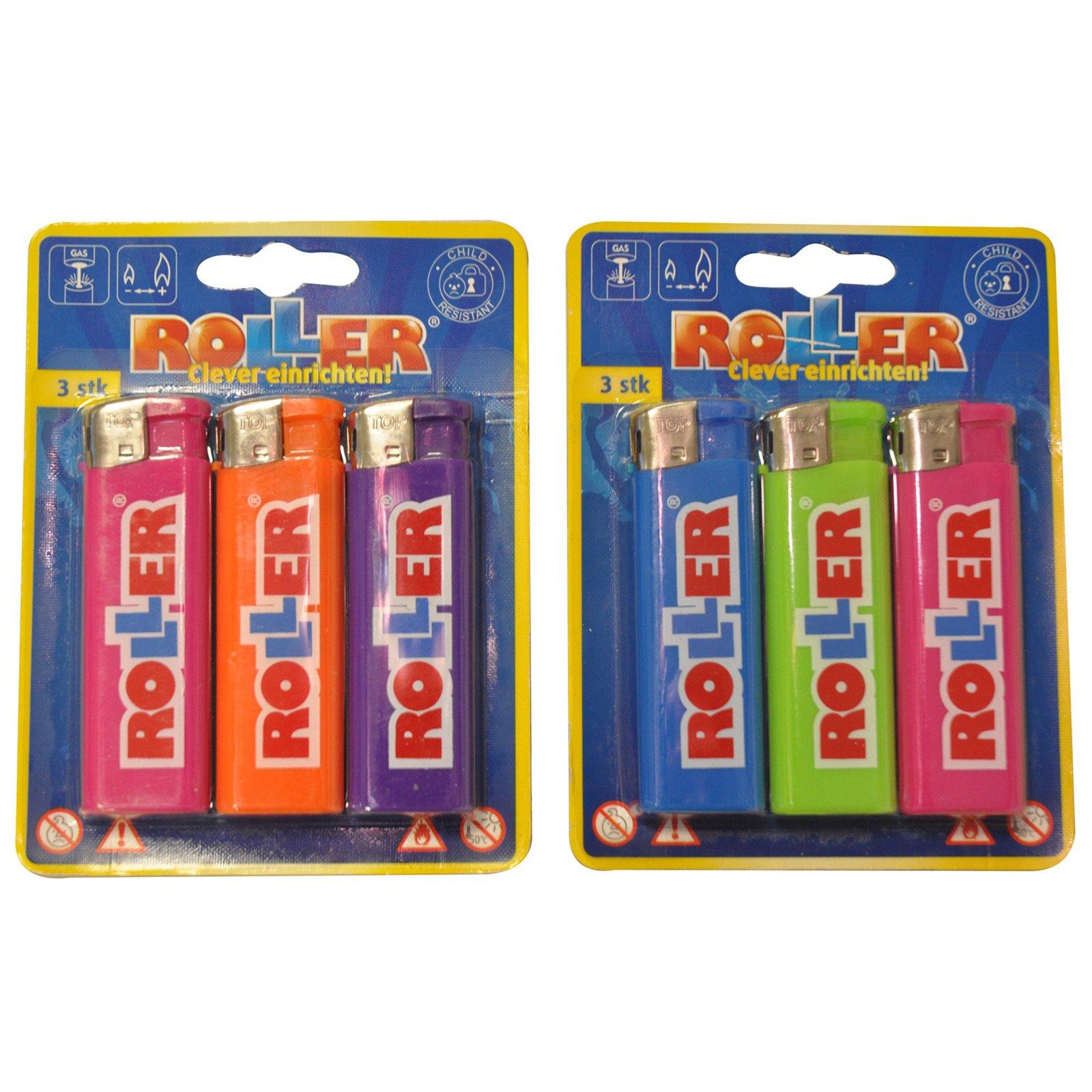 3er Pack Feuerzeuge - keine Farbauswahl - elektrisch