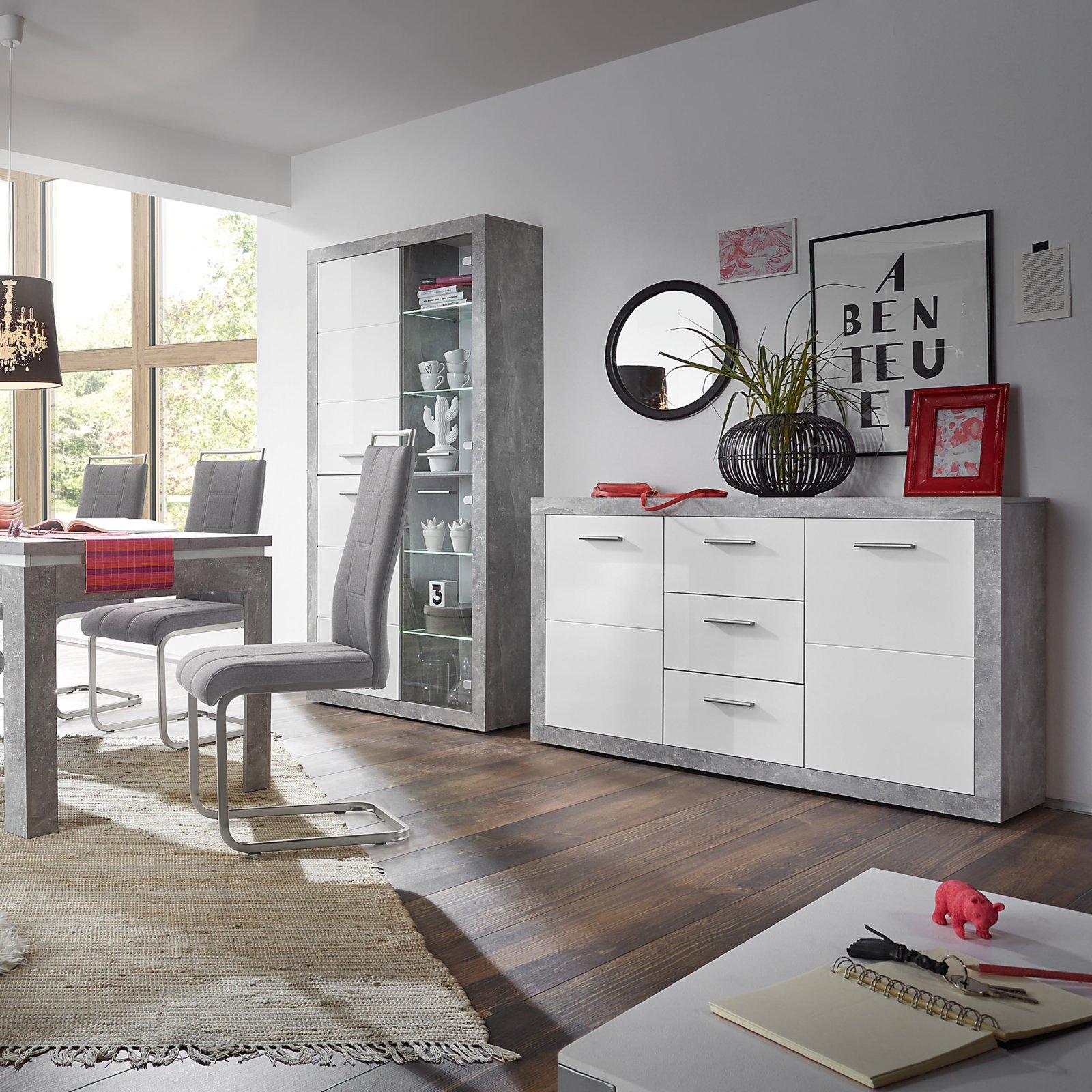 vitrine stone beton optik wei gl nzend mit beleuchtung 4038889038957 ebay. Black Bedroom Furniture Sets. Home Design Ideas