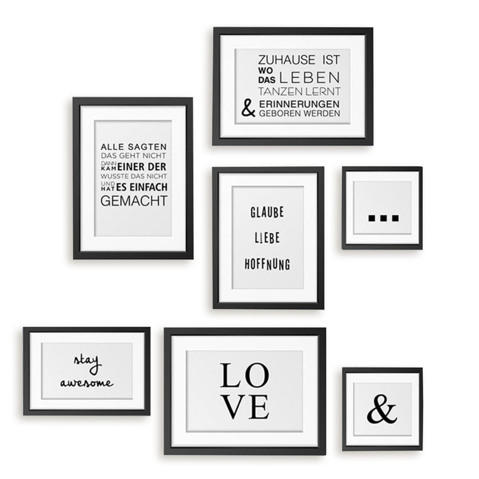 wandtattoo bilderrahmen schwarz wei 7 st ck selbstklebend wandtattoos tapeten borten. Black Bedroom Furniture Sets. Home Design Ideas