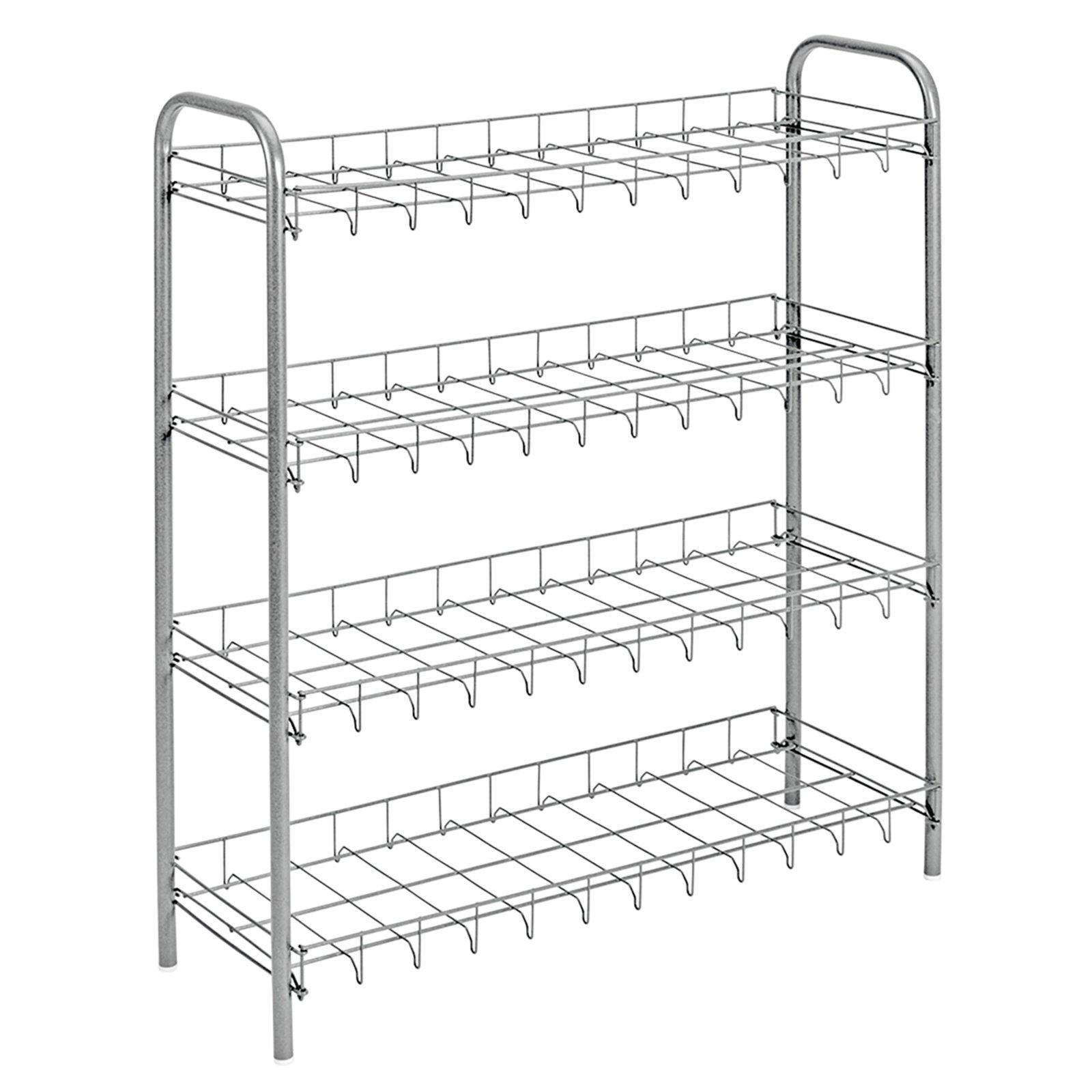 roller schuhregal metall verchromt 4 etagen ebay. Black Bedroom Furniture Sets. Home Design Ideas