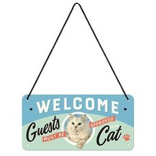 Vintage Hängeschild - Welcome Cat - 20x10 cm