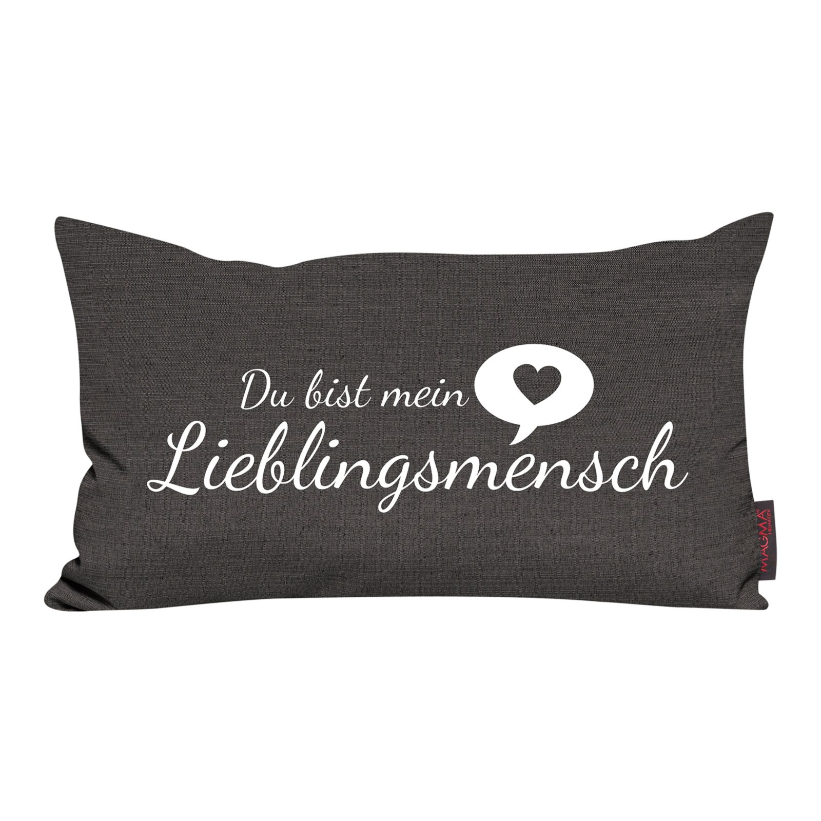 kissen anthrazit lieblingsmensch 30x50 cm sofakissen kissen deko haushalt roller. Black Bedroom Furniture Sets. Home Design Ideas