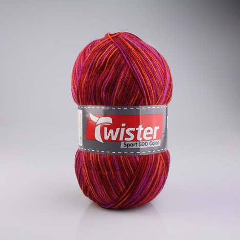 Wolle TWISTER SPORT 500 C - rot-weinrot - 500g