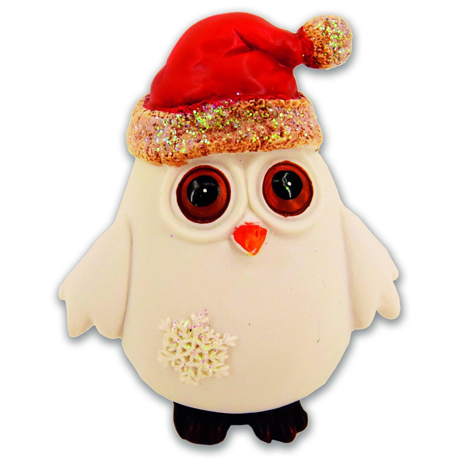 Deko-Weihnachtseule - Creme - 12 Cm - Groß