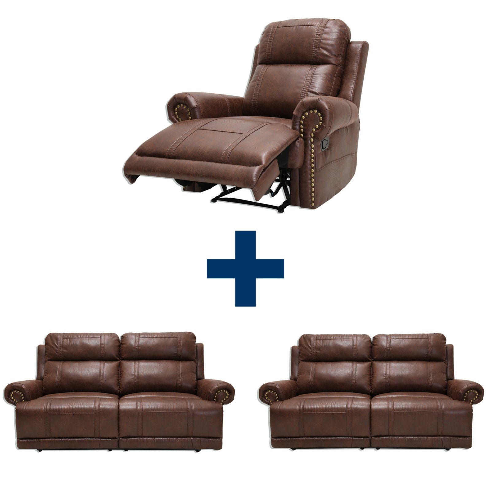 Set CELINA 2 Sofas mit Sessel braun mit Funktion