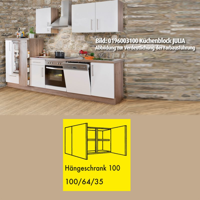 h ngeschrank julia wei hochglanz tr ffel 100 cm ebay. Black Bedroom Furniture Sets. Home Design Ideas