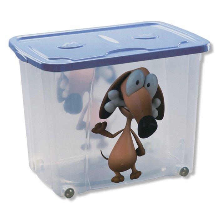 rollbox hund blau mit deckel 64 liter rollboxen. Black Bedroom Furniture Sets. Home Design Ideas