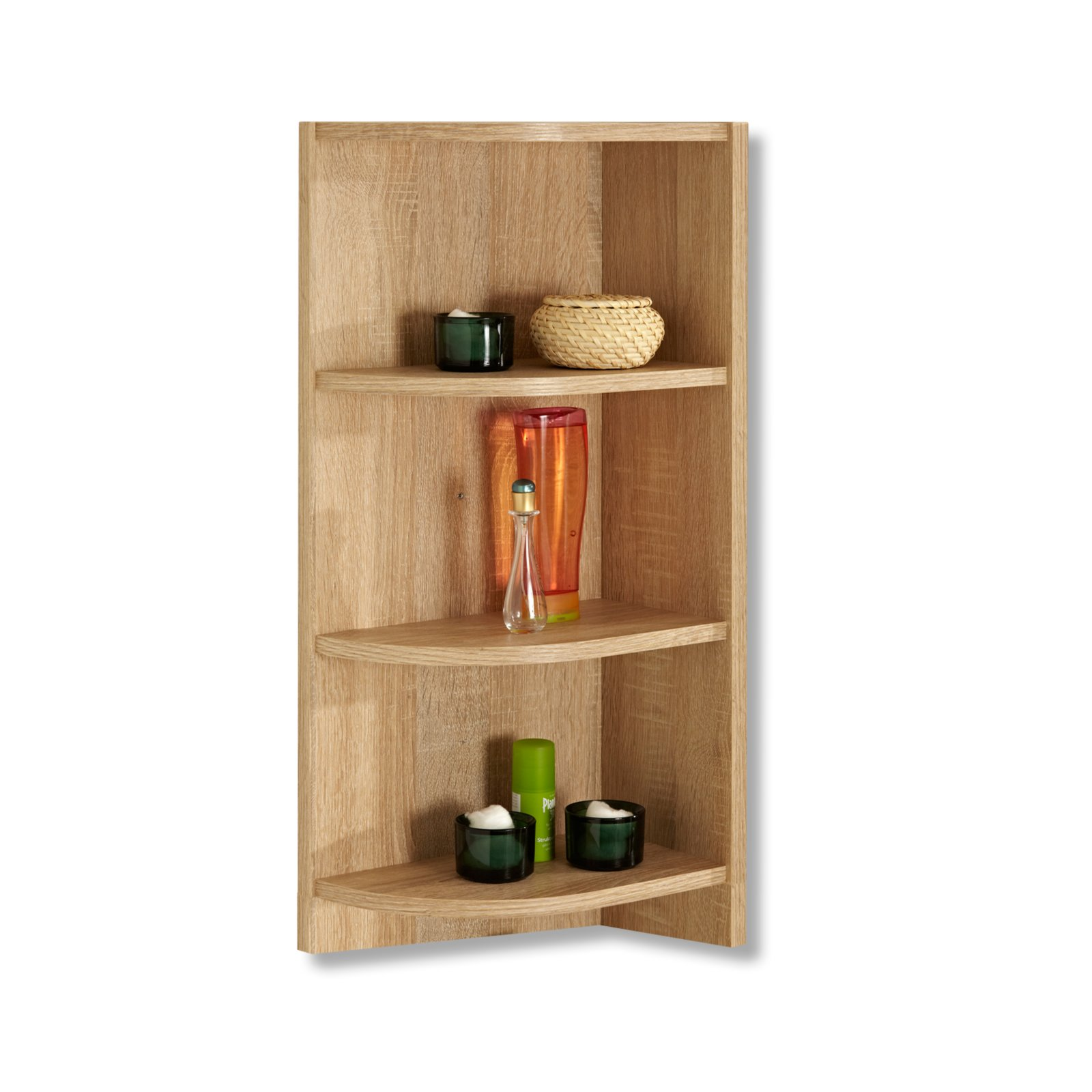 abschlussecke luanda eiche natur mit absatz badregale badm bel badezimmer. Black Bedroom Furniture Sets. Home Design Ideas