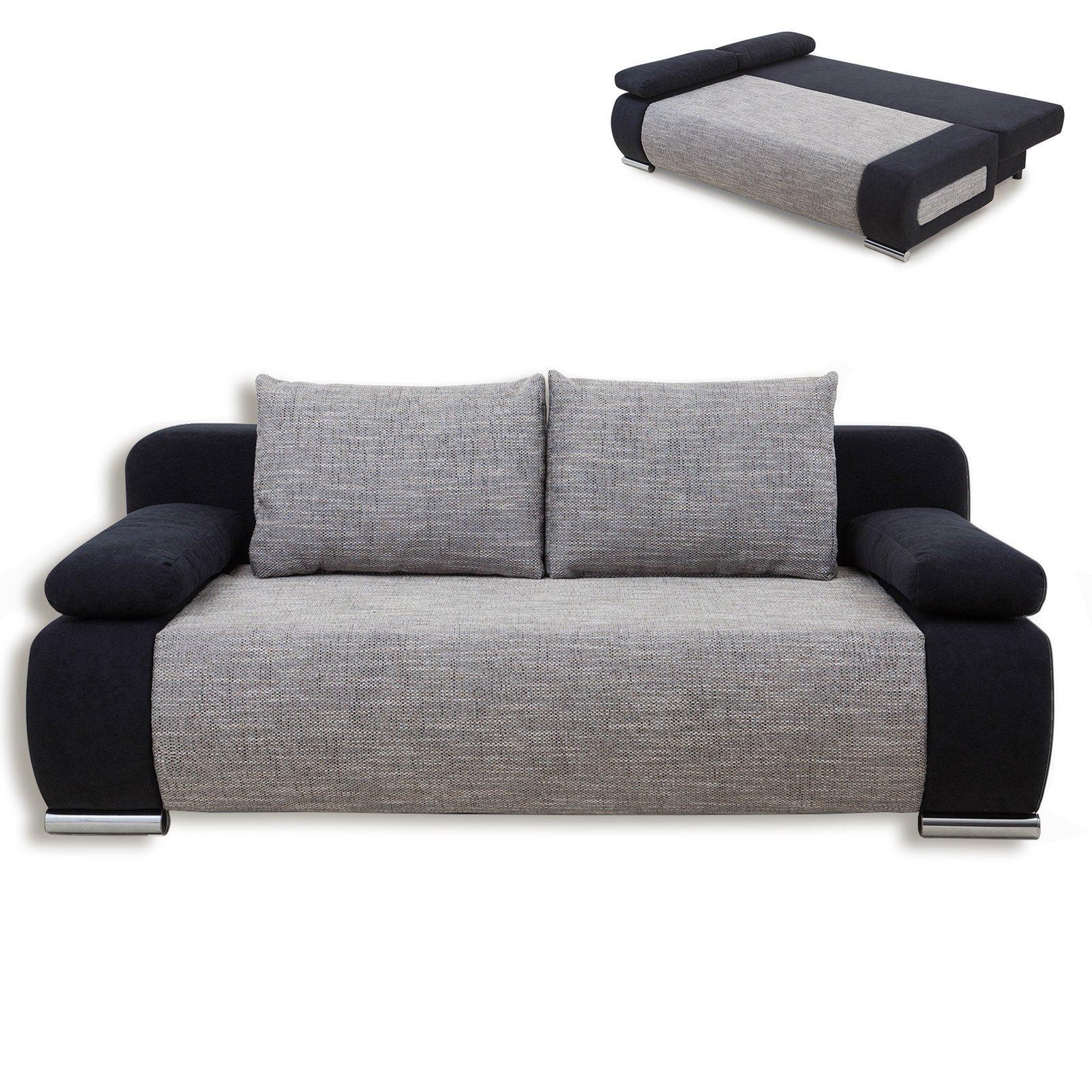 schlafsofa schwarz grau mit staukasten schlafsofas sofas couches m bel roller. Black Bedroom Furniture Sets. Home Design Ideas