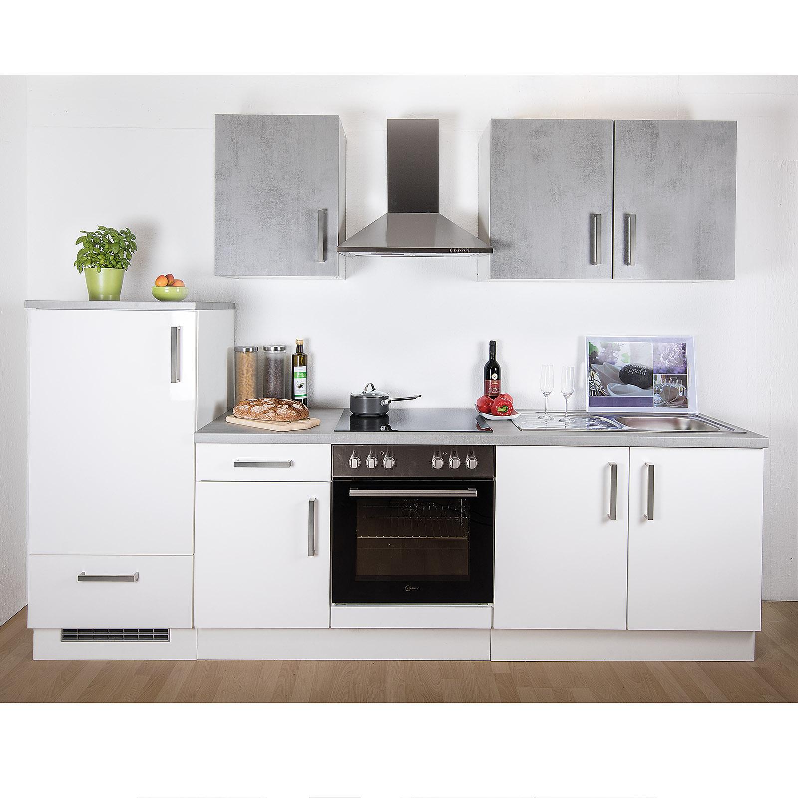 Küchenblock - weiß Hochglanz - Betonoptik - 270 cm
