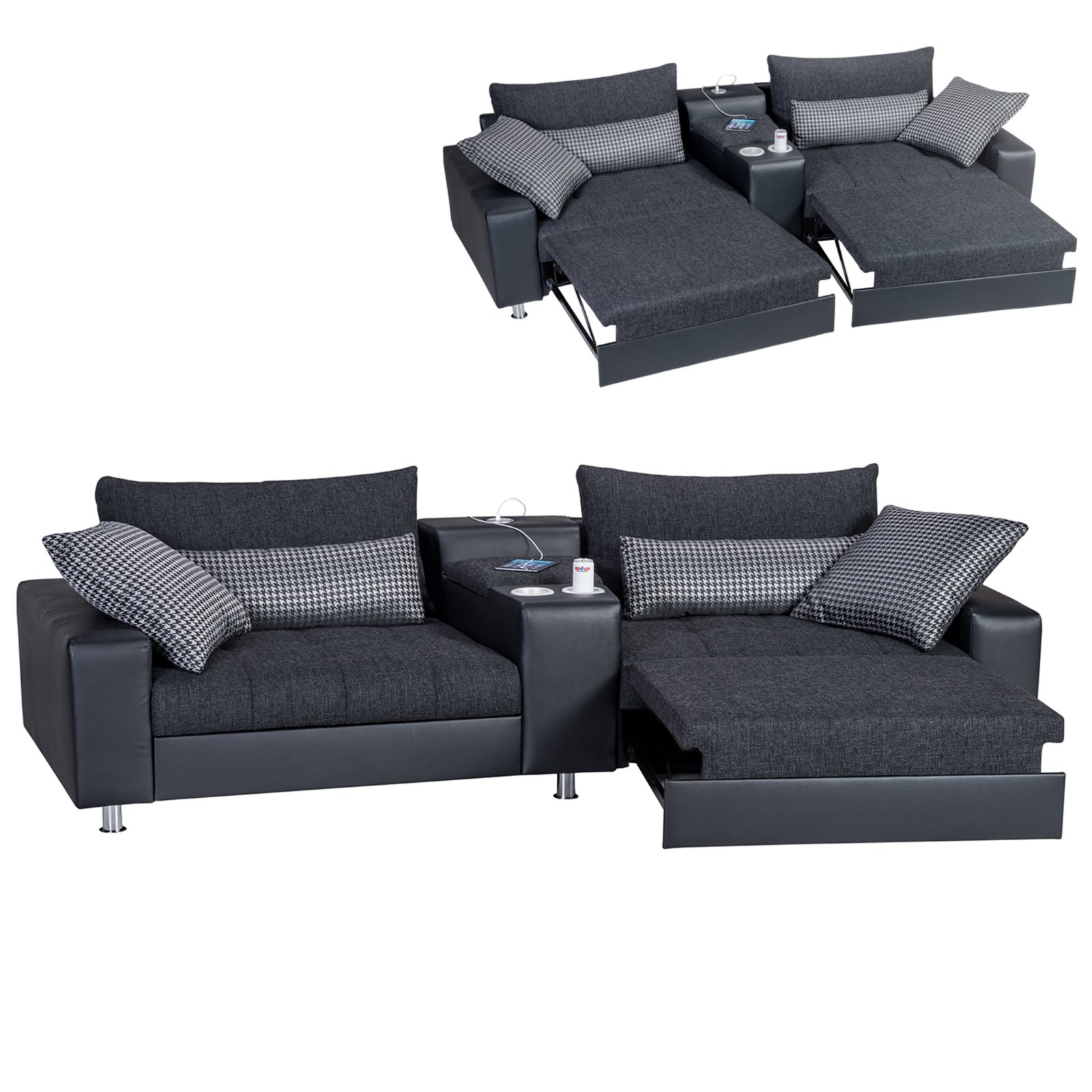 2 sitzer heimkino sofa schwarz mit funktionen. Black Bedroom Furniture Sets. Home Design Ideas