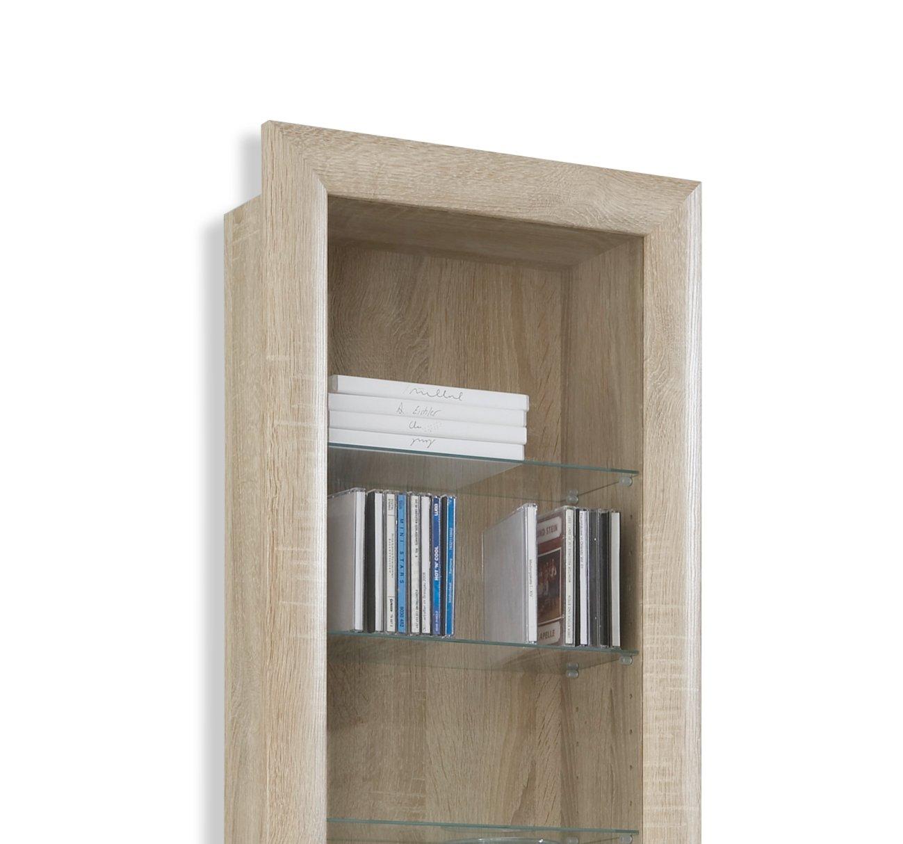 h ngevitrine bora sonoma eiche glasb den ebay. Black Bedroom Furniture Sets. Home Design Ideas