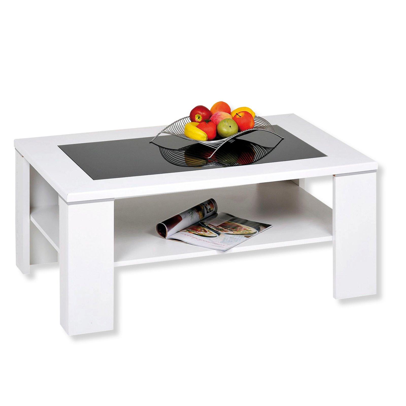 couchtisch santos wei glaseinlage 100x65 cm. Black Bedroom Furniture Sets. Home Design Ideas