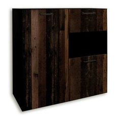Highboard - Schwarzstahloptik - Texas Oak - 118 cm