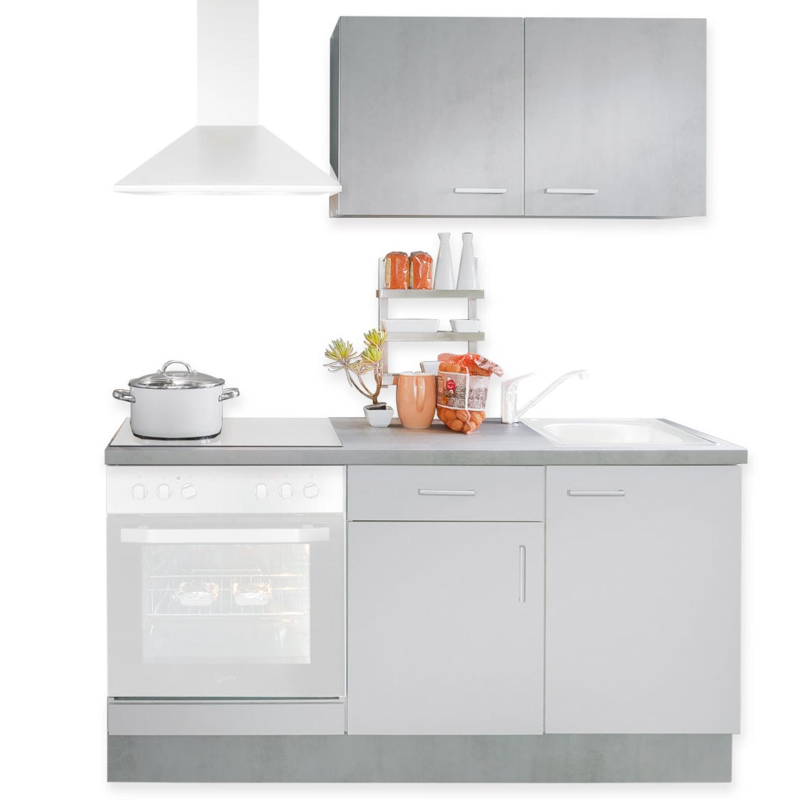 Mini-Küche - weiß - Beton-Optik - 160 cm