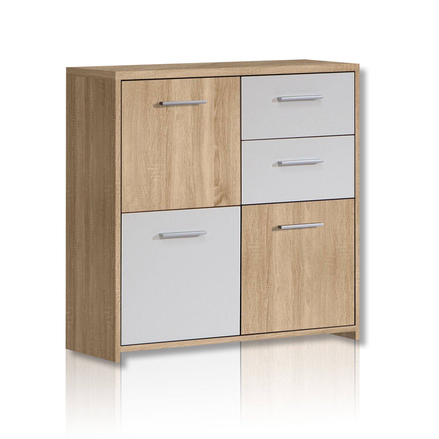 kommode quadro sonoma eiche wei kommoden sideboards m bel roller m belhaus. Black Bedroom Furniture Sets. Home Design Ideas