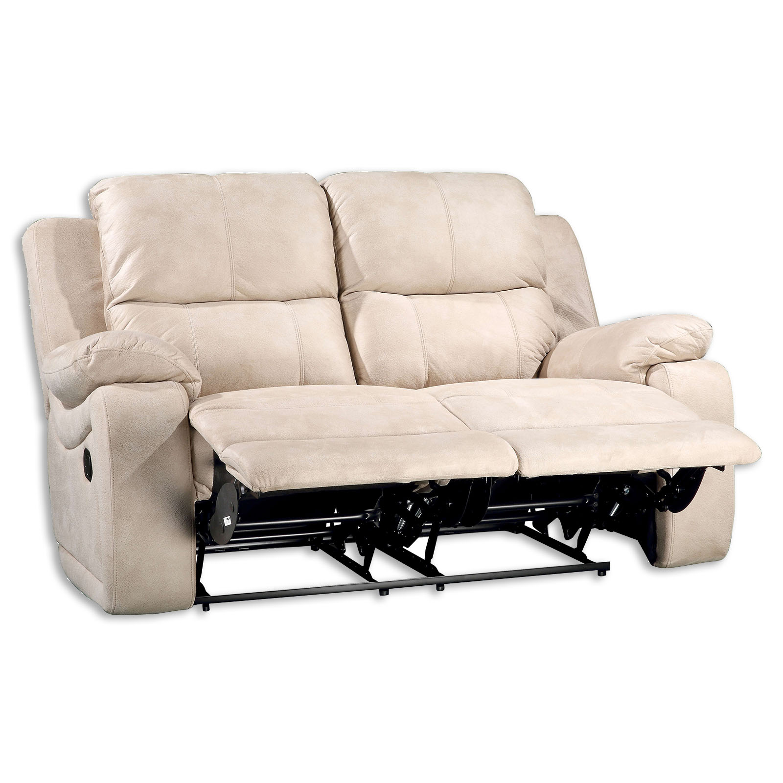 Sofa 2 Sitzer beige mit Relaxfunktion 154 cm breit