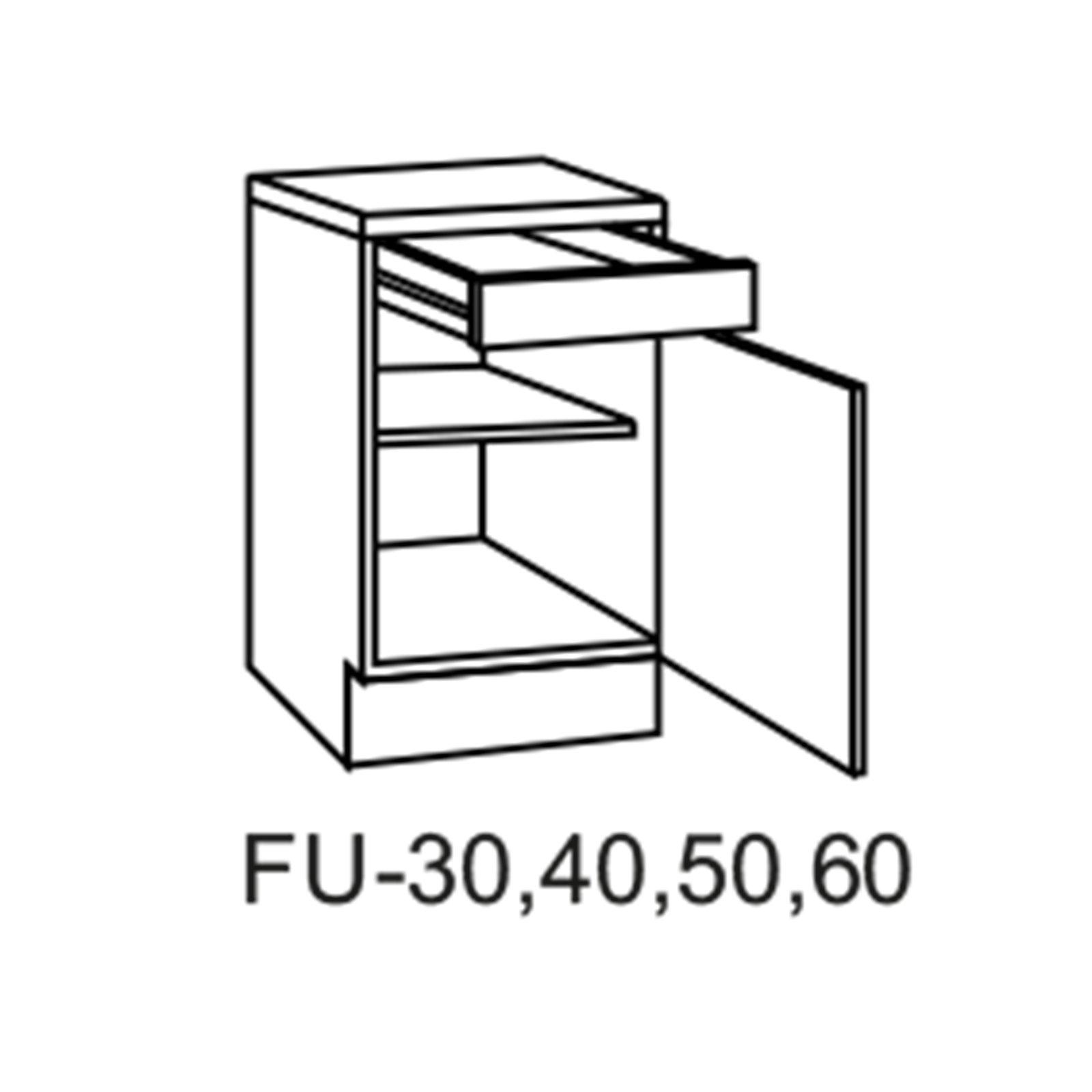 Unterschrank FOX - anthrazit-Sonoma Eiche - 40 cm breit | Küche FOX ...
