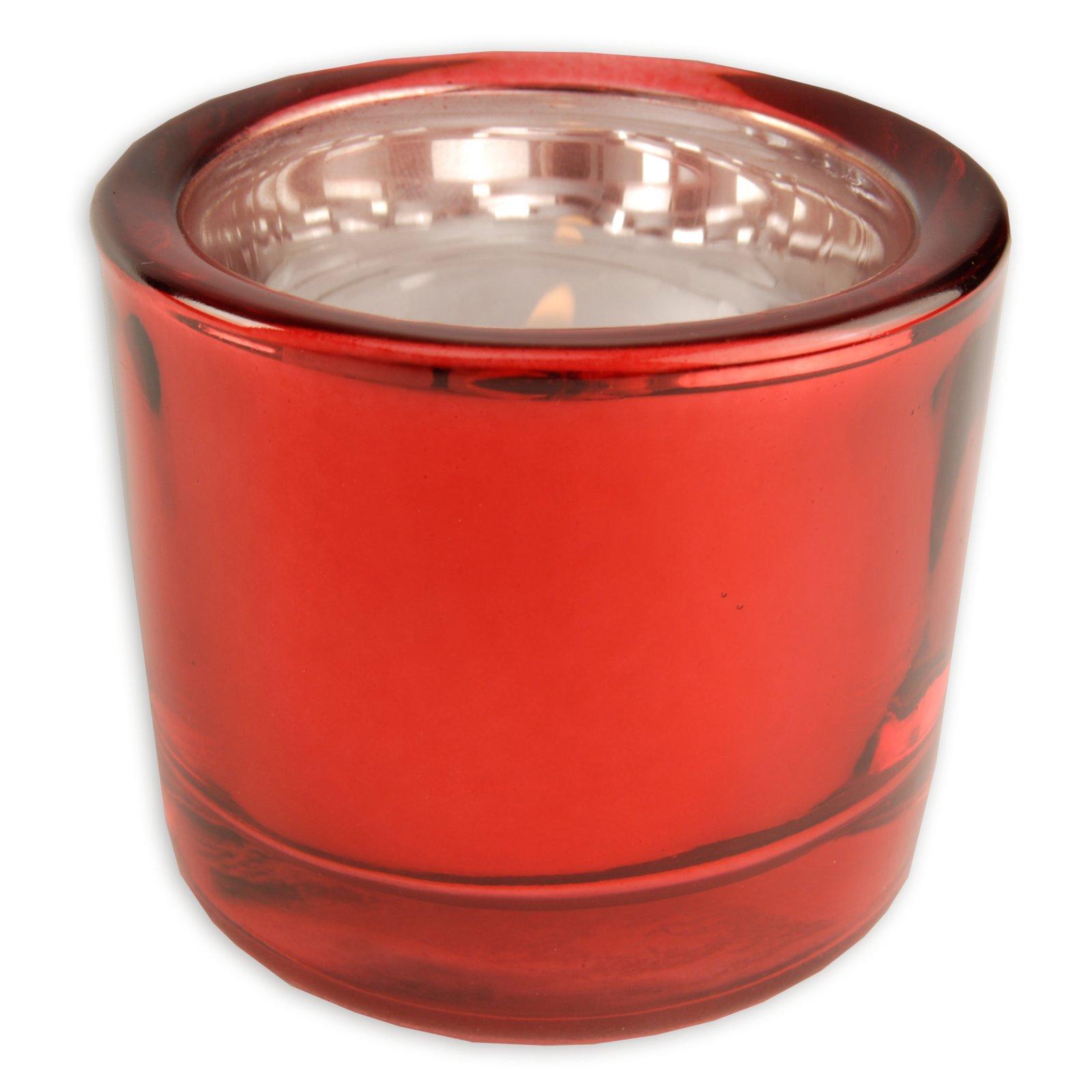Glas-Windlicht - rot - Ø 6,5 - 5,7 cm hoch