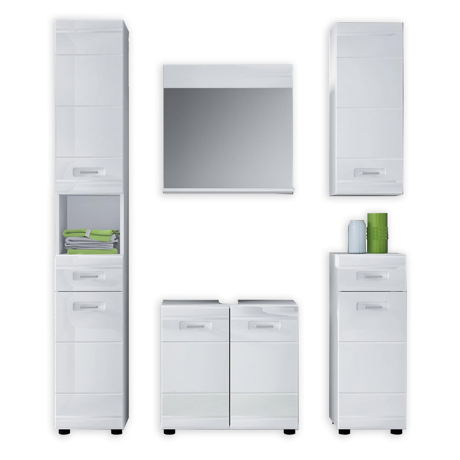 5-teiliges Badmöbel-Set - weiß-hochglanz