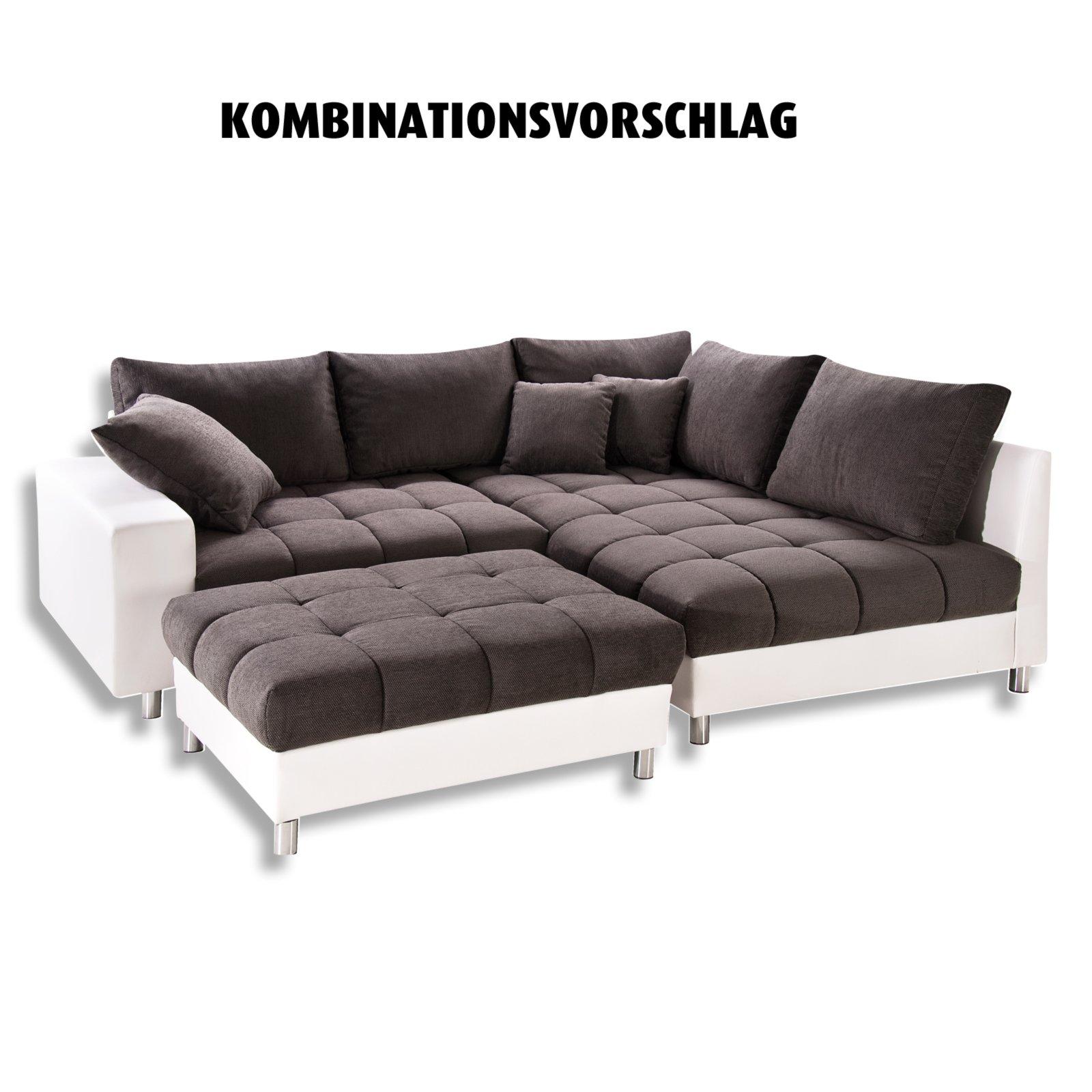 Eckgarnitur - weiß-stone - Armlehne links - Kunstleder   Ecksofas L ...